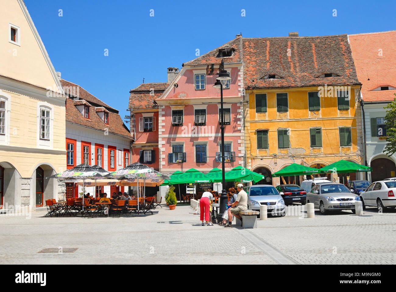 Sibiu, Transylvania, Romania. Piata Mica (square) Stock Photo