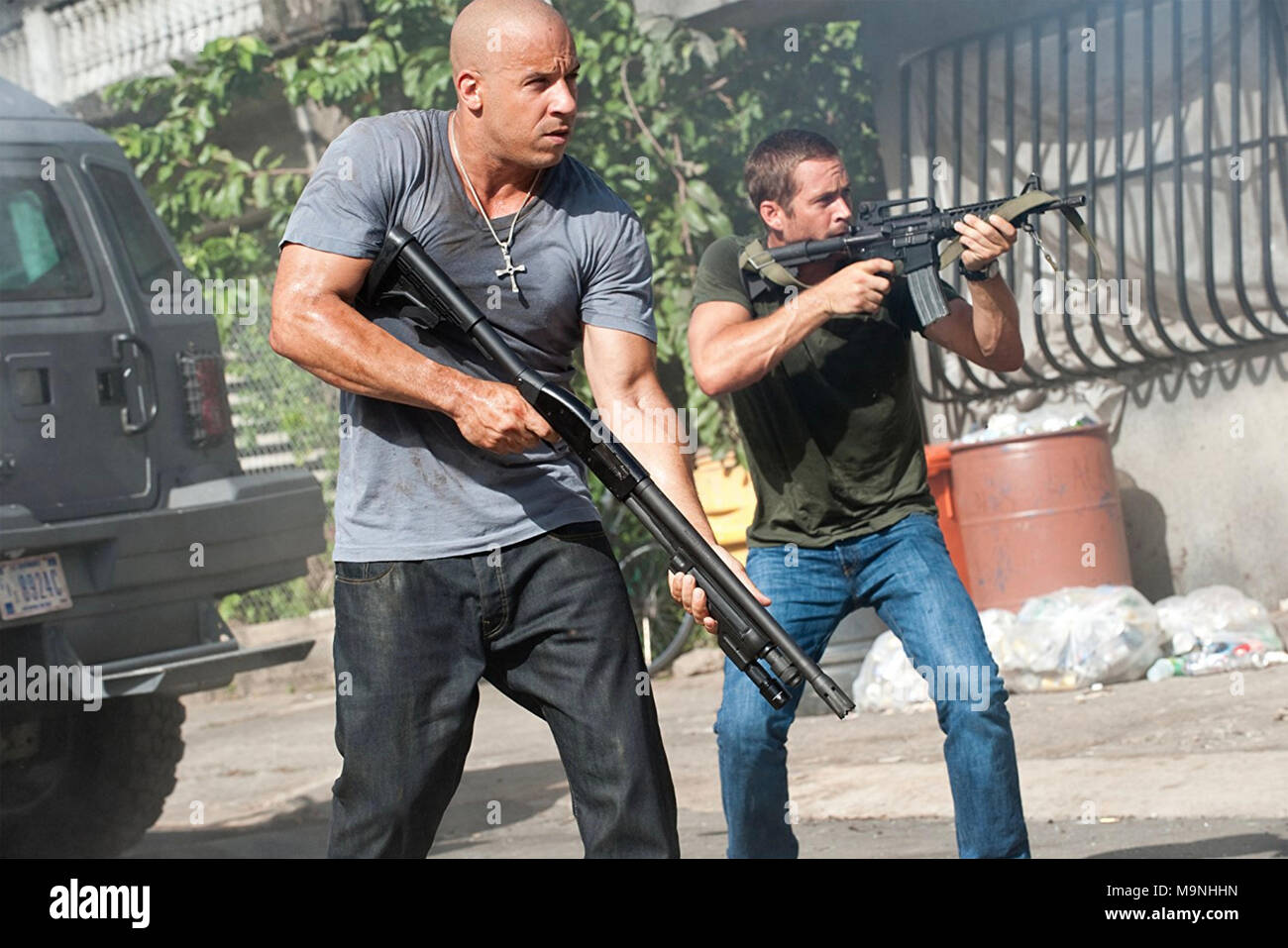 FAST AND FURIOUS 5 (aka Fast Five) 2011 Universal Pictures film with Vin Diesel at left and Paul Walker Stock Photo