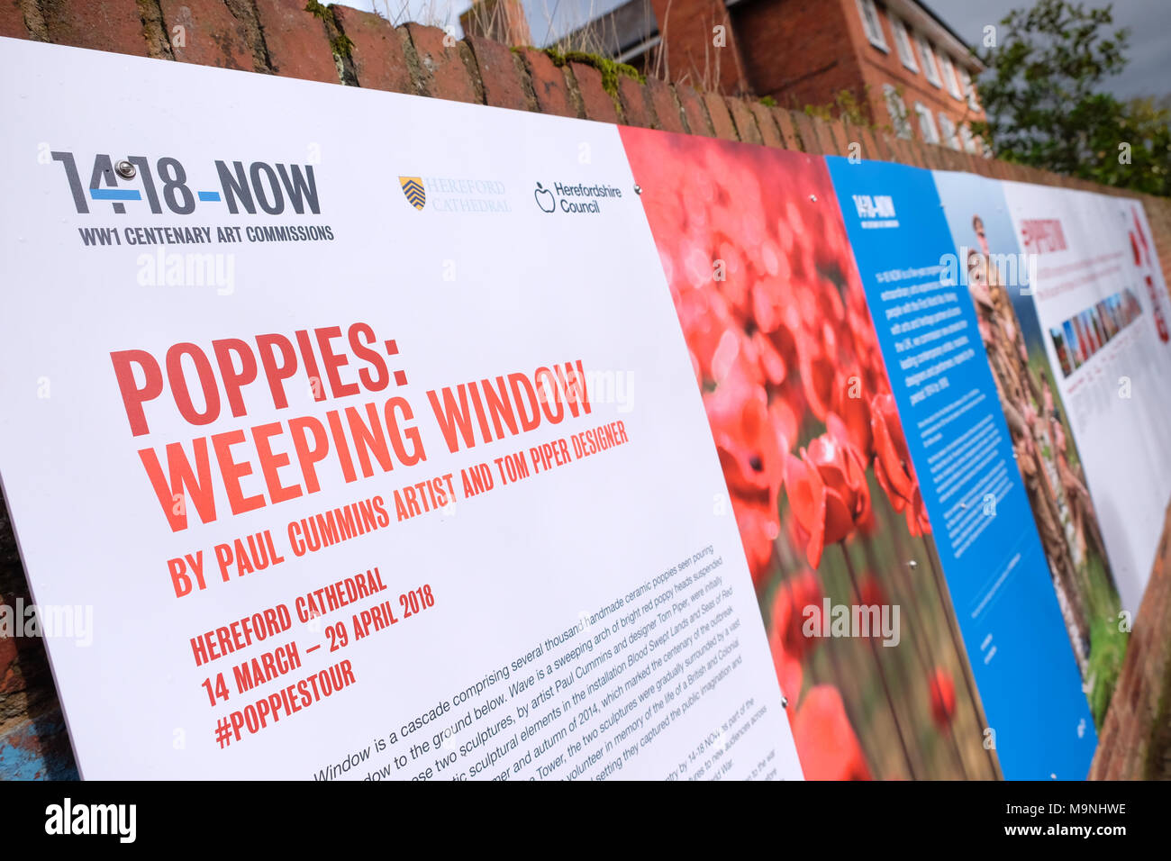 Hereford UK information boards about the Weeping Window ceramic poppies art installation 14-18 NOW - Stock Image