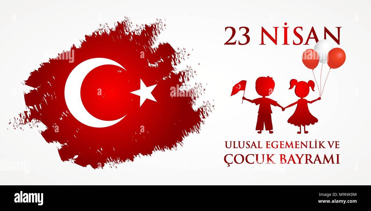 23 nisan cocuk baryrami. Translation: Turkish April 23 Childrens Day. Vector illustration - Stock Vector