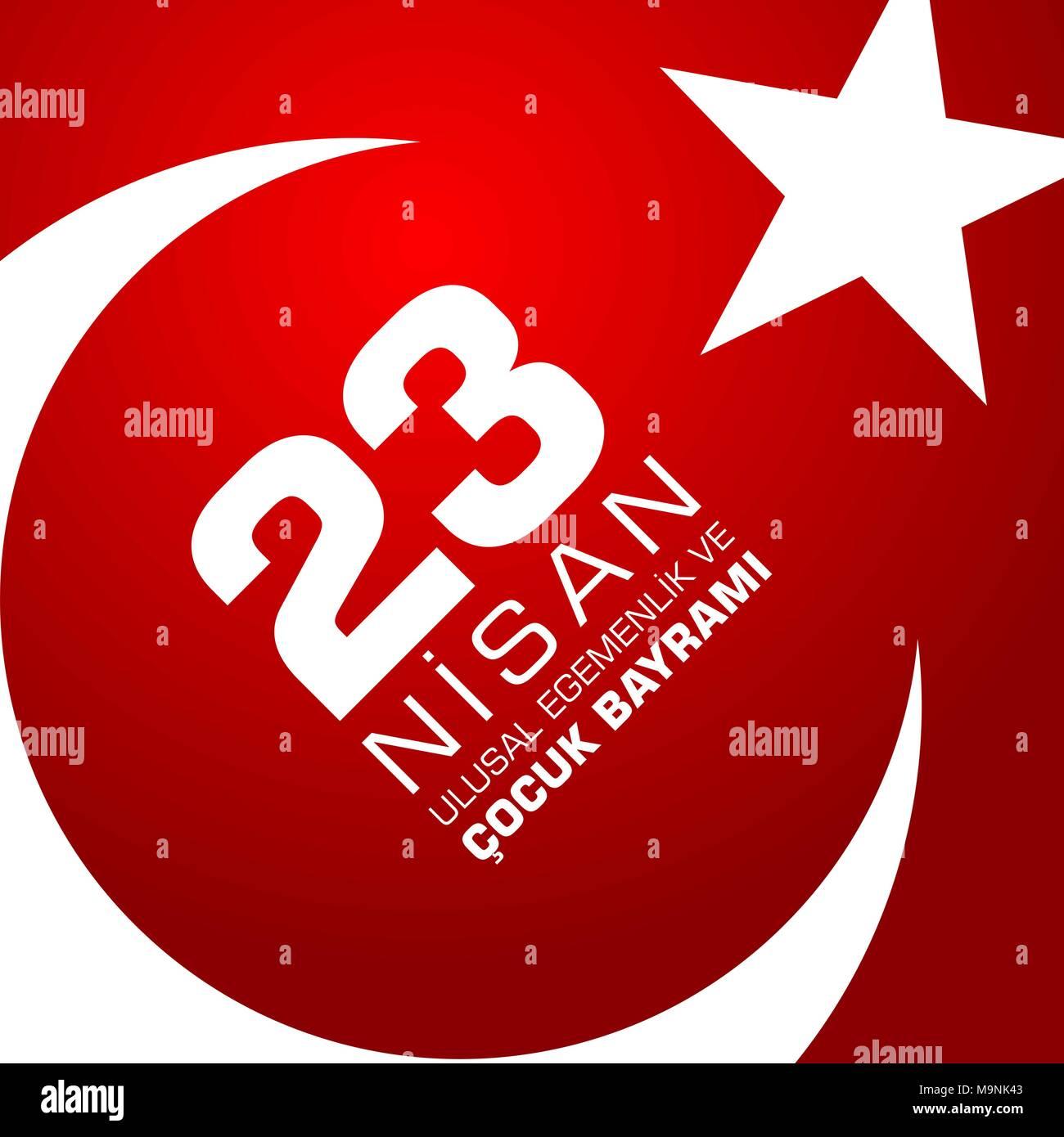 23 nisan cocuk baryrami. Translation: Turkish April 23 Childrens Day. Vector illustration Stock Vector