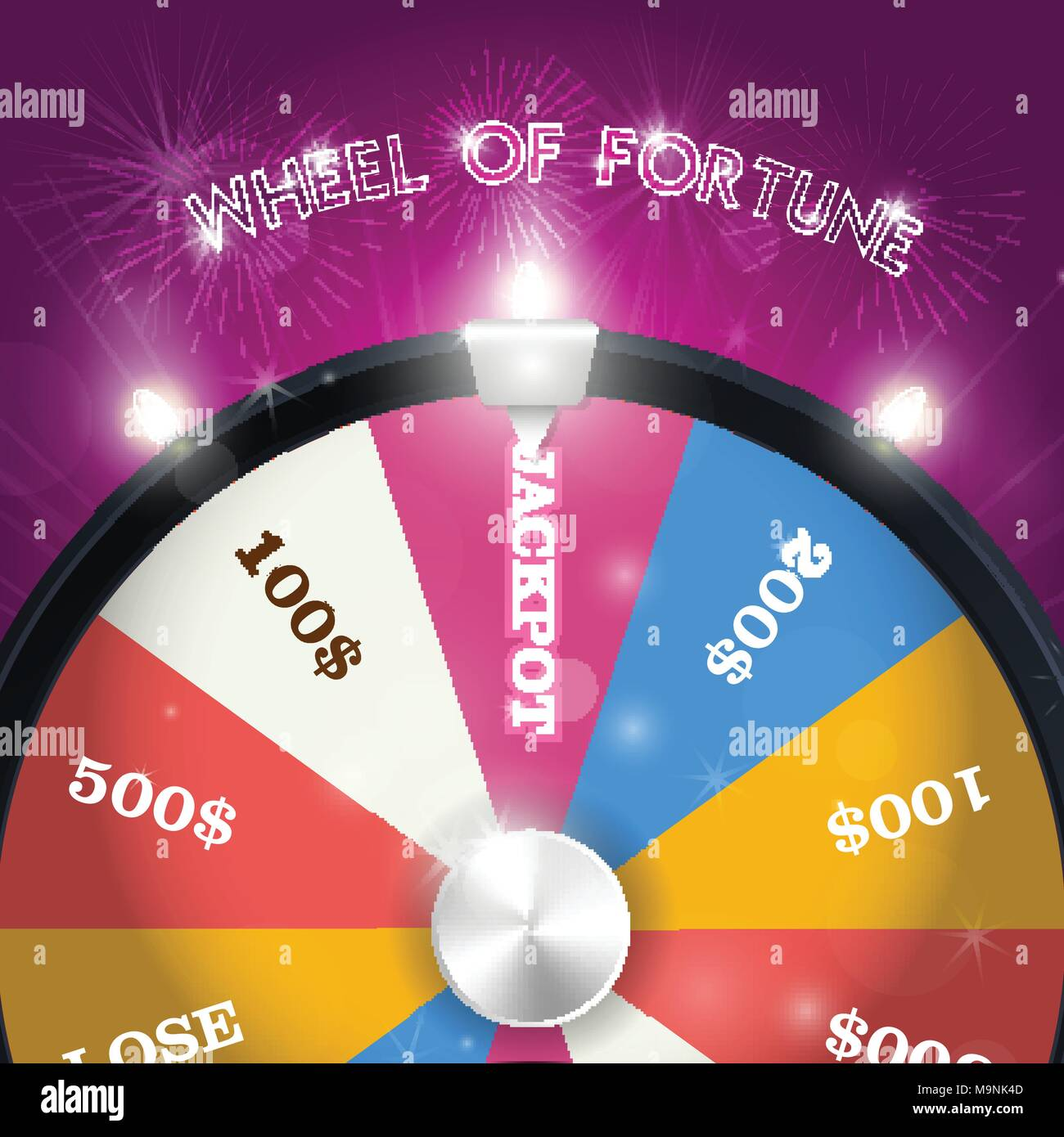 Wheel of fortune - jackpot  sector, lottery win concept - Stock Vector
