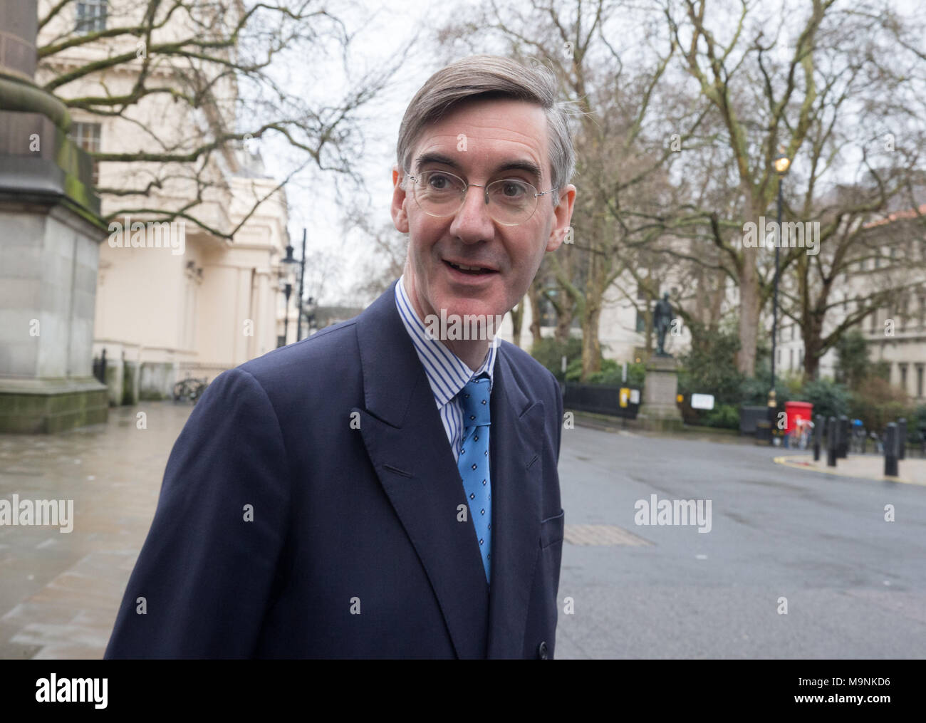 Jacob Rees-Mogg, arriving to speak at the 'Leave Means Leave' event in Central London with one full year to go. - Stock Image