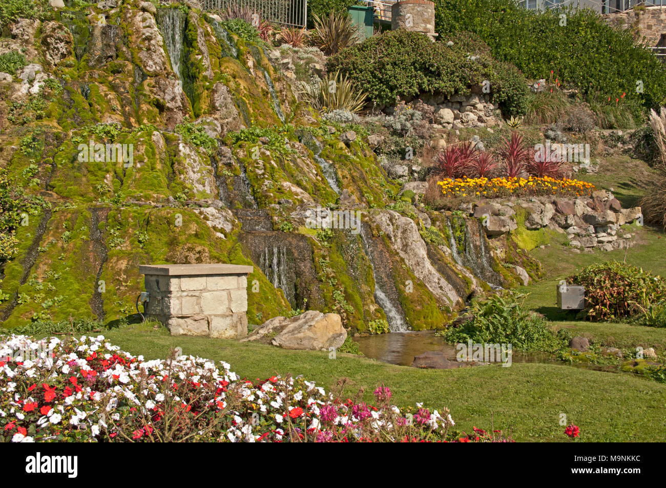 Ventnor, Water Fall in Rock Garden Front, Isle of Wight, Hampshire ...