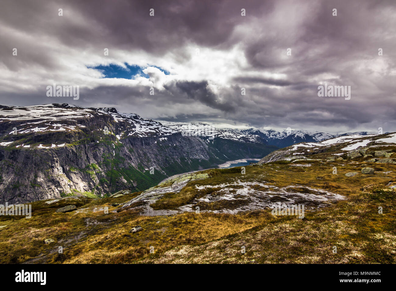 July 22, 2015: Panorama of a fjord on the way to Trolltunga, Norway - Stock Image