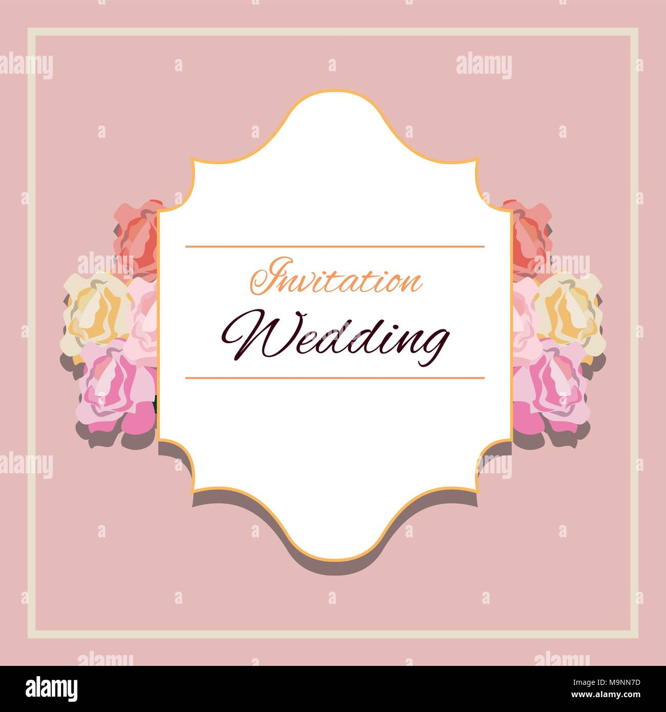 Floral Wedding Invitation Design With Beautiful Flowers And