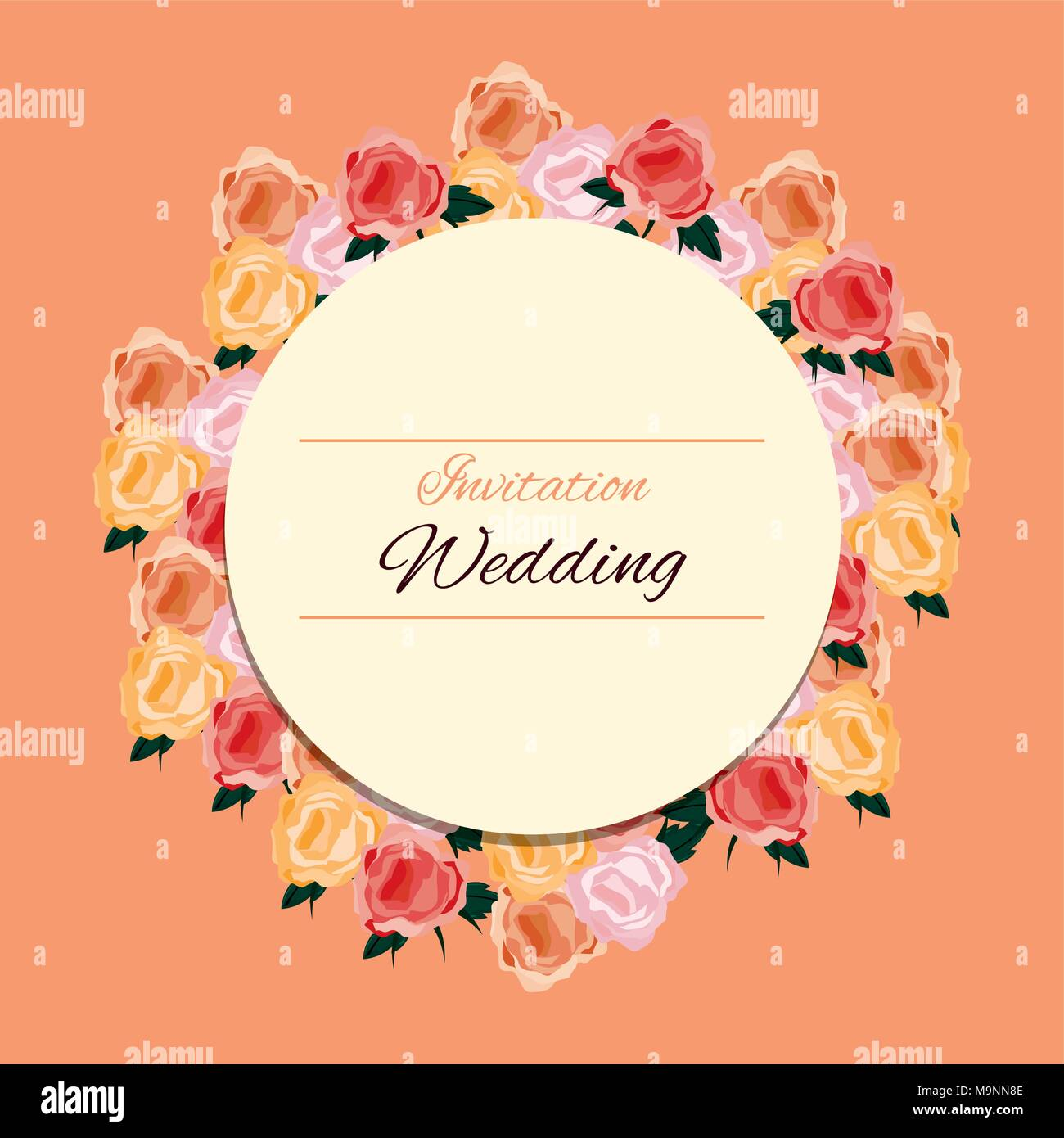 Floral Wedding Invitation Design With Decorative Wreath Of