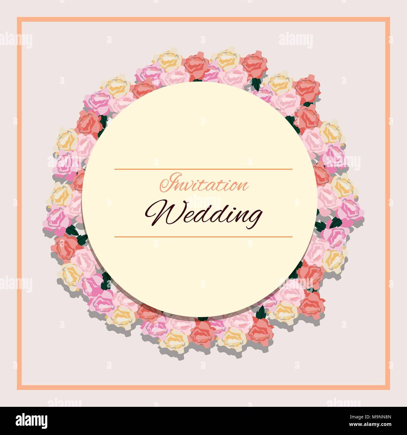 floral wedding invitation design with circular frame and