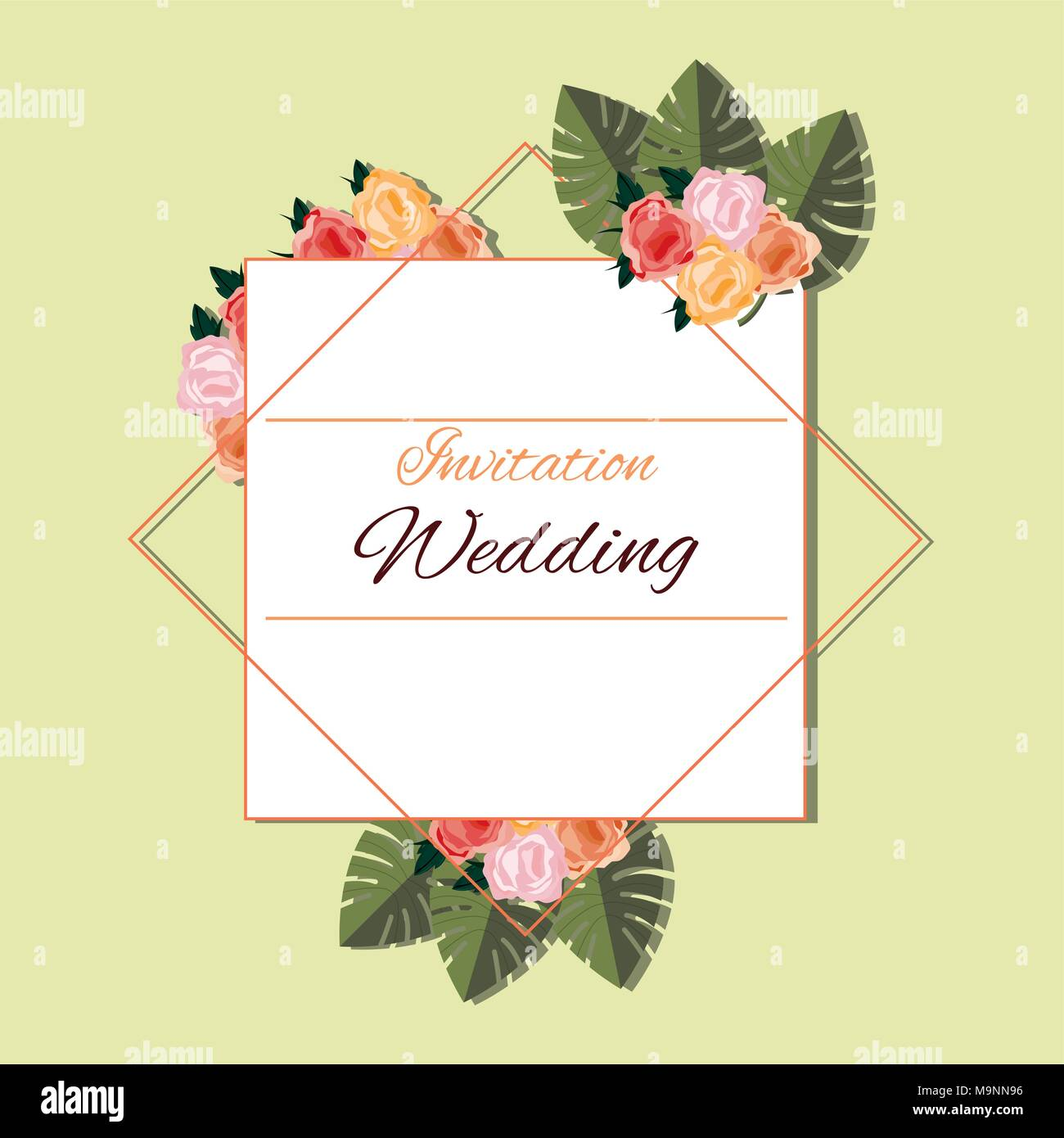 wedding invitation design with decorative frame and tropical