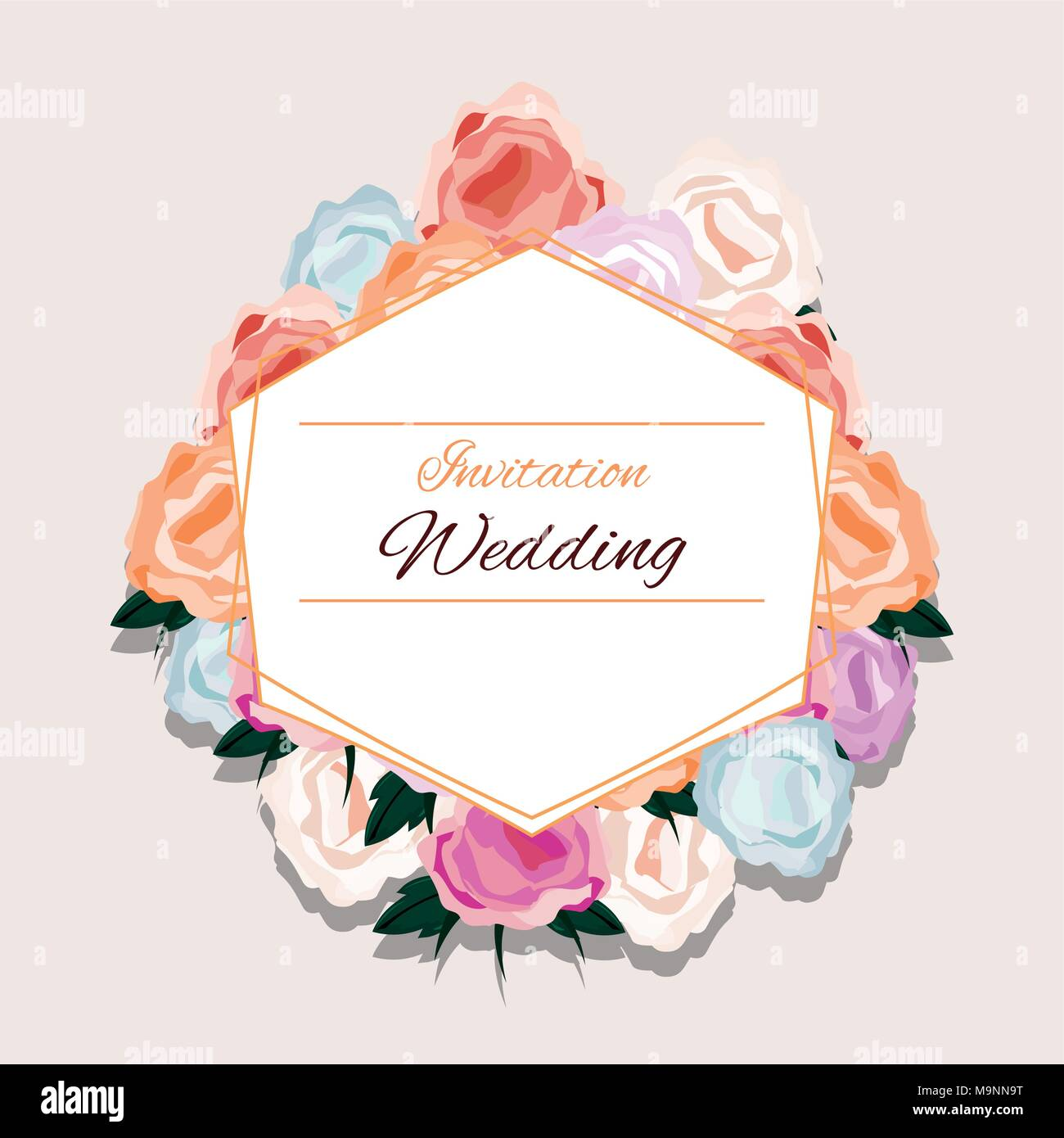 floral wedding invitation design with beautiful flowers and ...