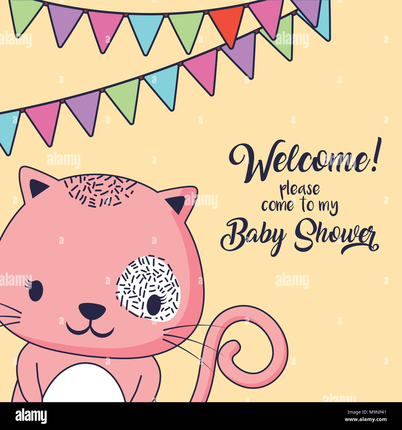 Baby Shower Invitation Design With Cute Cat And Decorative Pennants