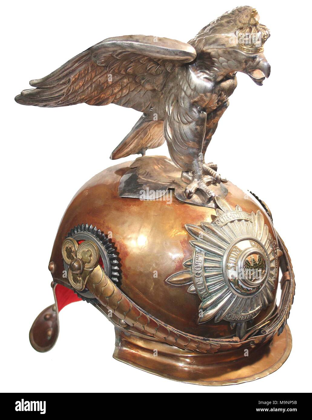 Prussian Garde-du Corps parade helmet with eagle top ornament , pre World War 1 - Stock Image
