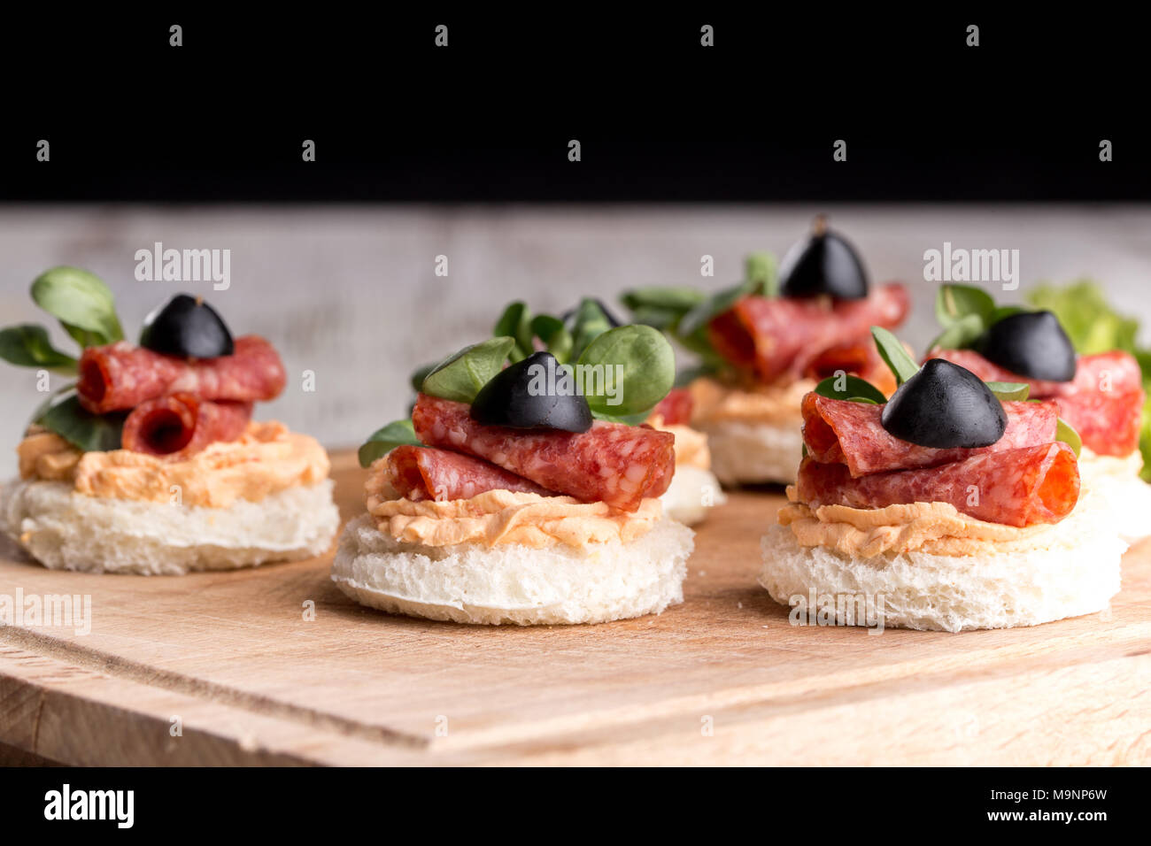 Delicious canapes with salami and spices on a wooden background - Stock Image