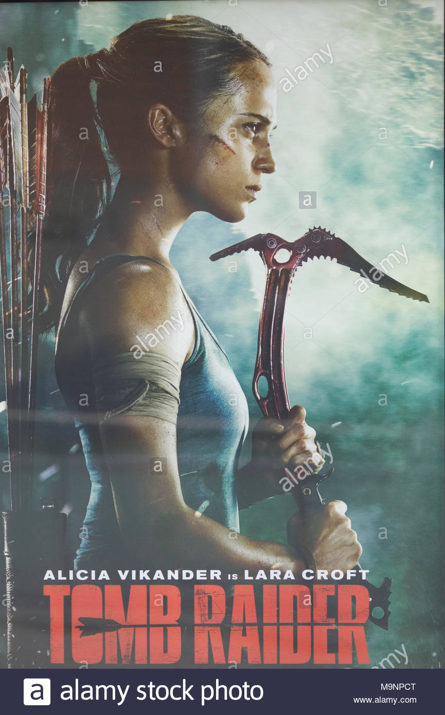 Promotional Poster Advertising The New Movie Tomb Raider Stock Photo Alamy