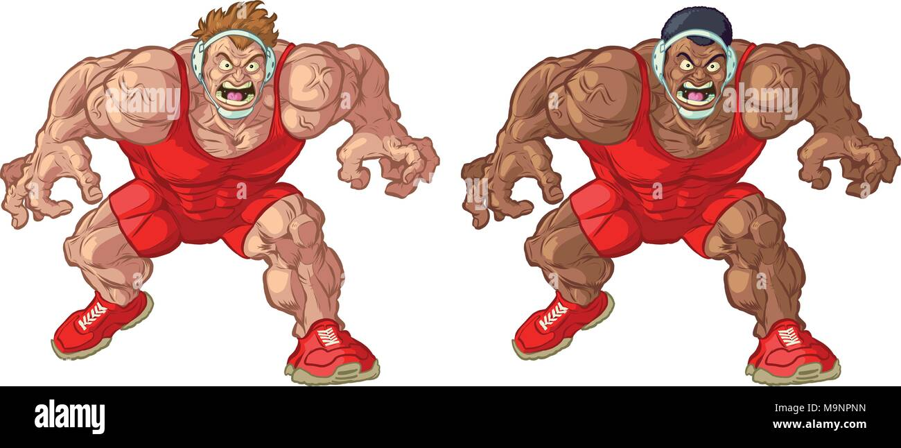 Vector cartoon clip art illustration of tough mean intimidating Caucasian and African American wrestler mascots couching and wearing singlets. - Stock Image