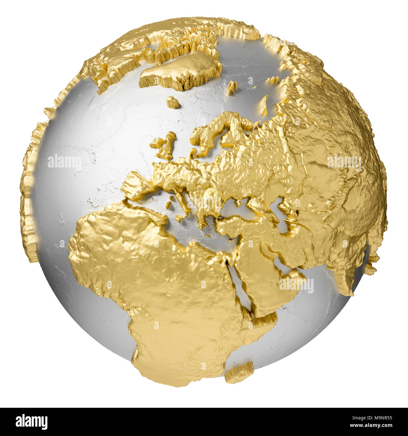 Gold world map 3d isolated cut out stock images pictures alamy gold silver globe without water europe 3d rendering isolated on white background gumiabroncs Image collections