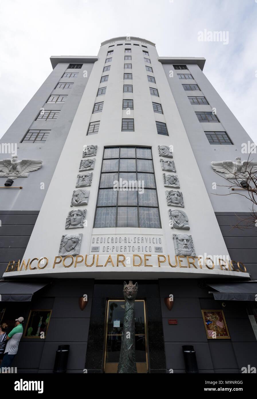 Banco Popular de Puerto Rico entrance in San Juan - Stock Image