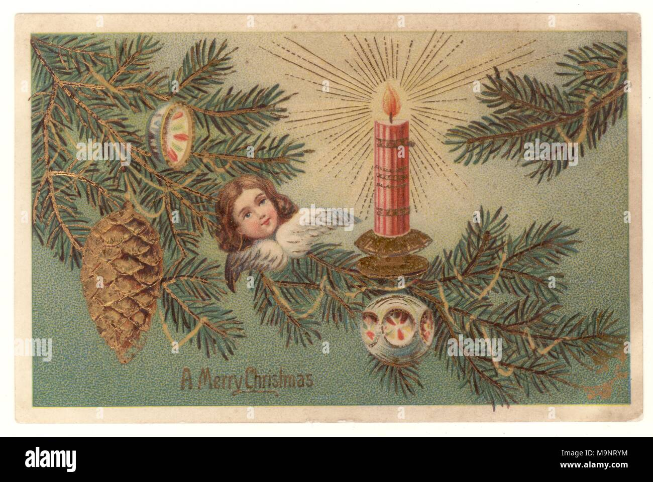 Edwardian Christmas Greetings postcard, depicting a Christmas tree with decorations, wishing a Merry Christmas, posted Dec 23 1906 - Stock Image