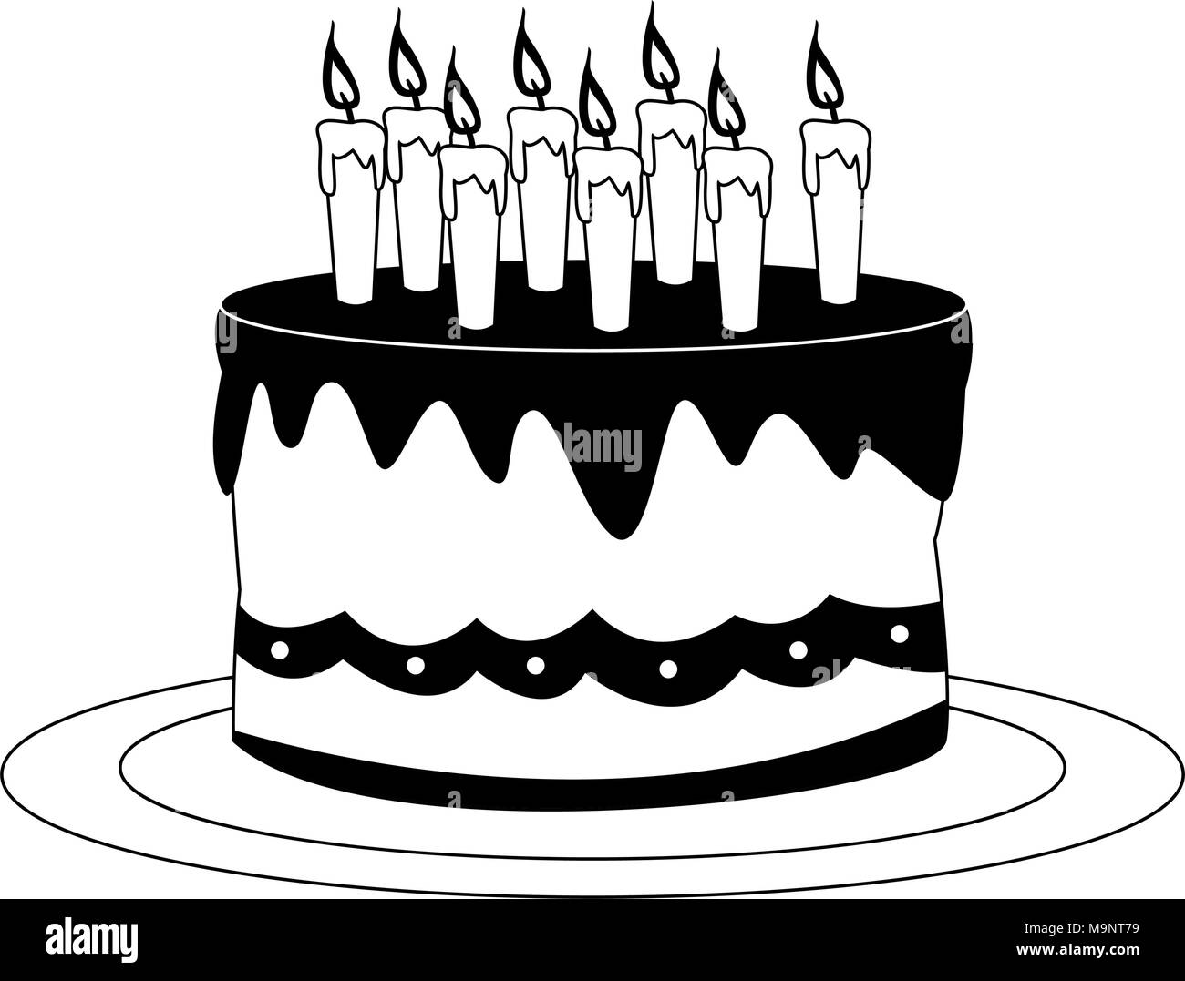 Fabulous Birthday Cake Illustration Black And White Stock Photos Images Funny Birthday Cards Online Alyptdamsfinfo
