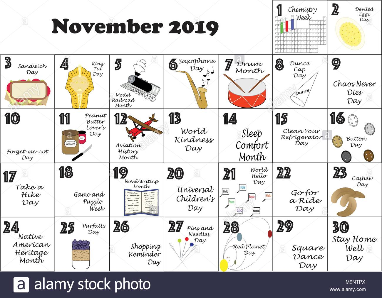 Calendar Celebrations 2019 November 2019 monthly calendar illustrated and annotated with