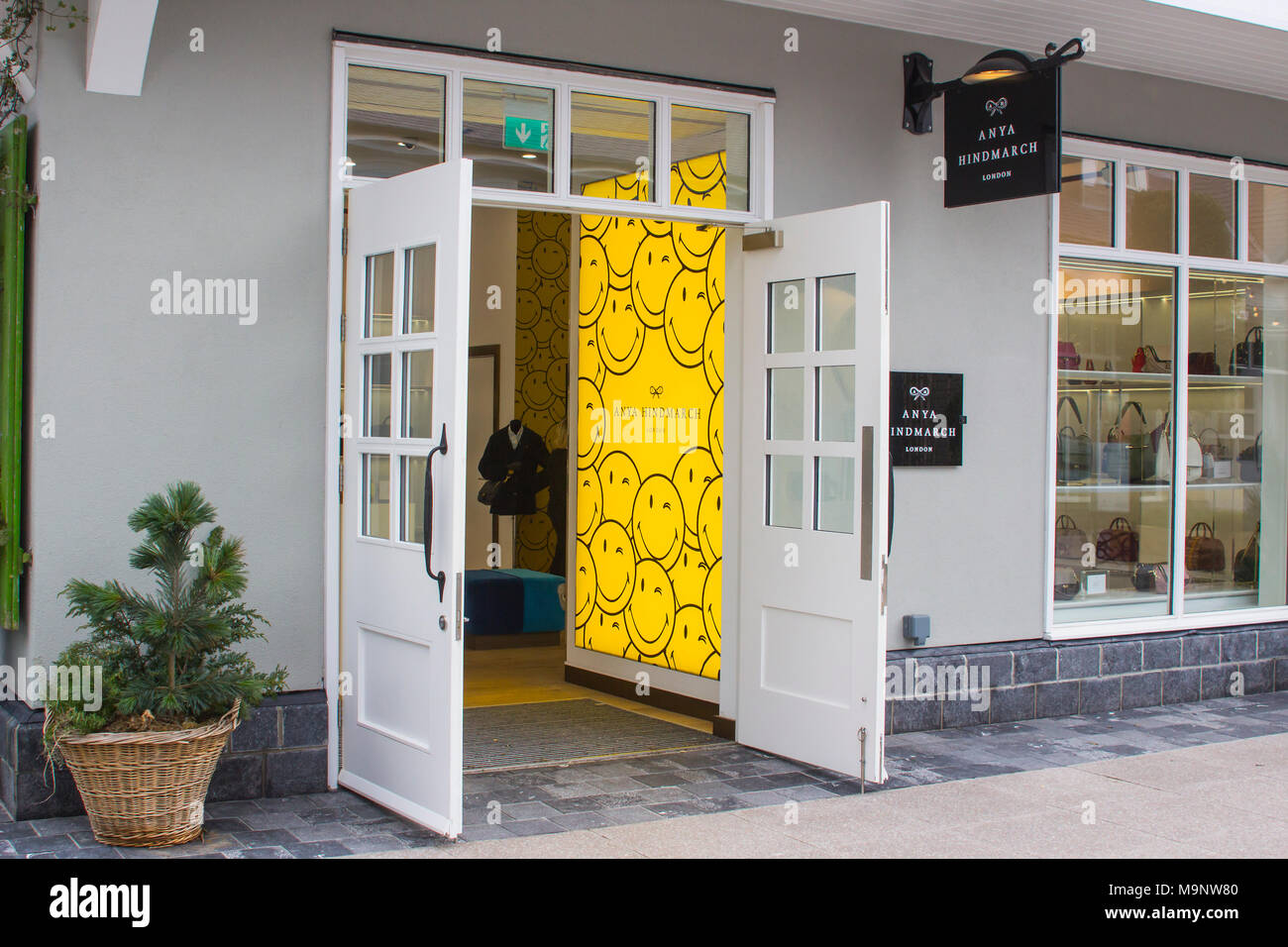 16 March 2018 The open doors of the Anya Hindmarch retail store at the up market Kildare Village shopping outlet  in County Kildare Ireland - Stock Image