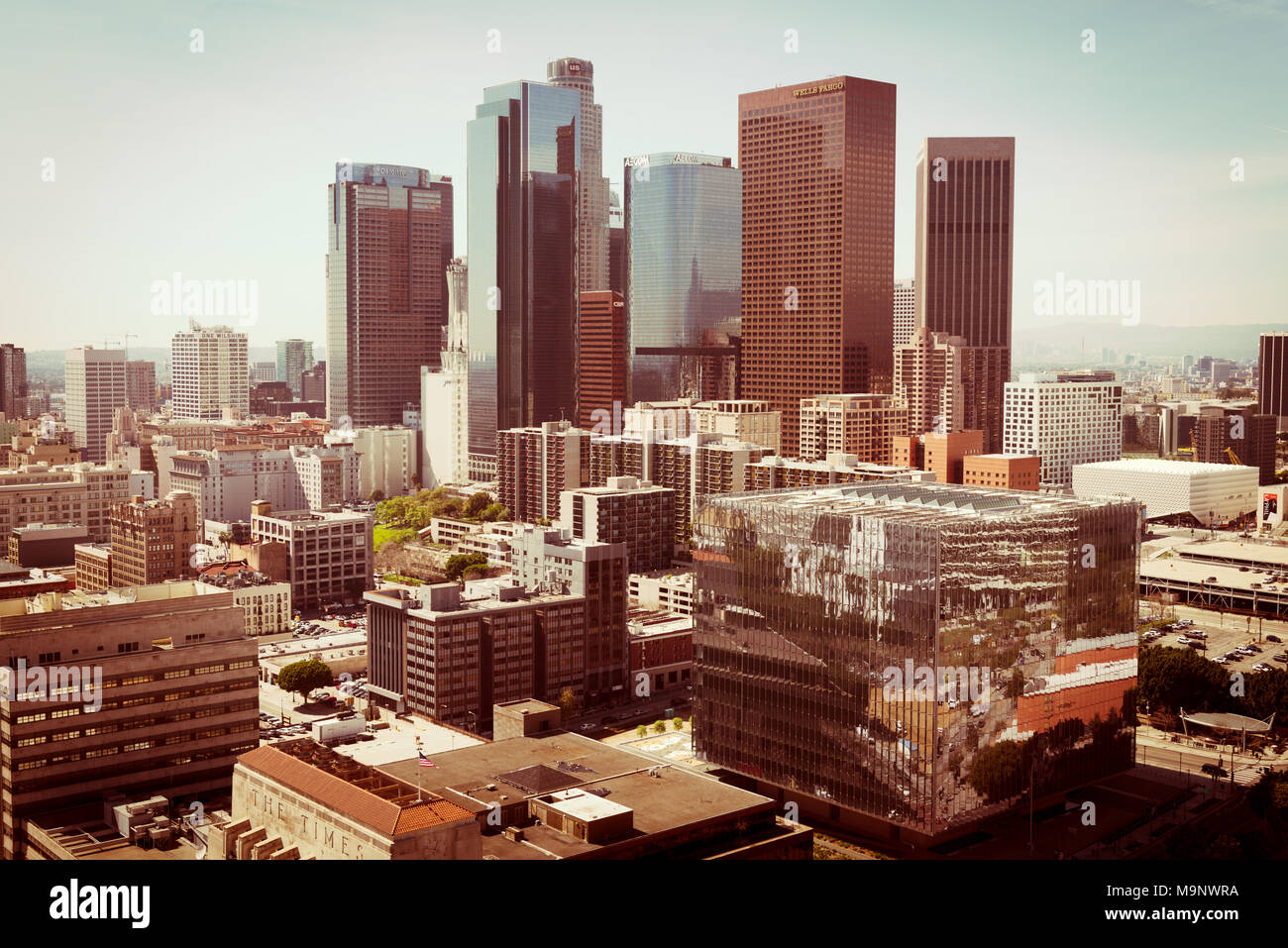 Downtown of Los Angeles, aerial view - Stock Image