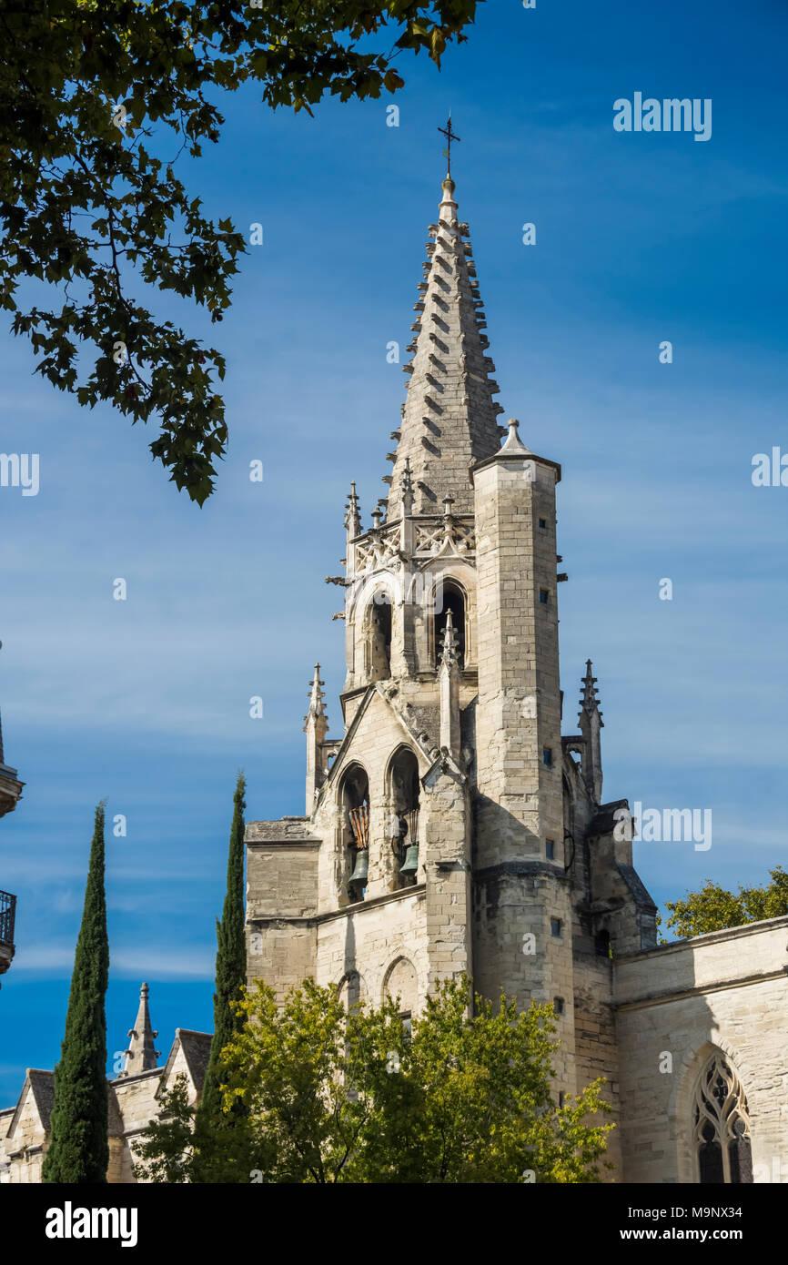 Saint Pierre Church steeple in Avignon, France - Stock Image