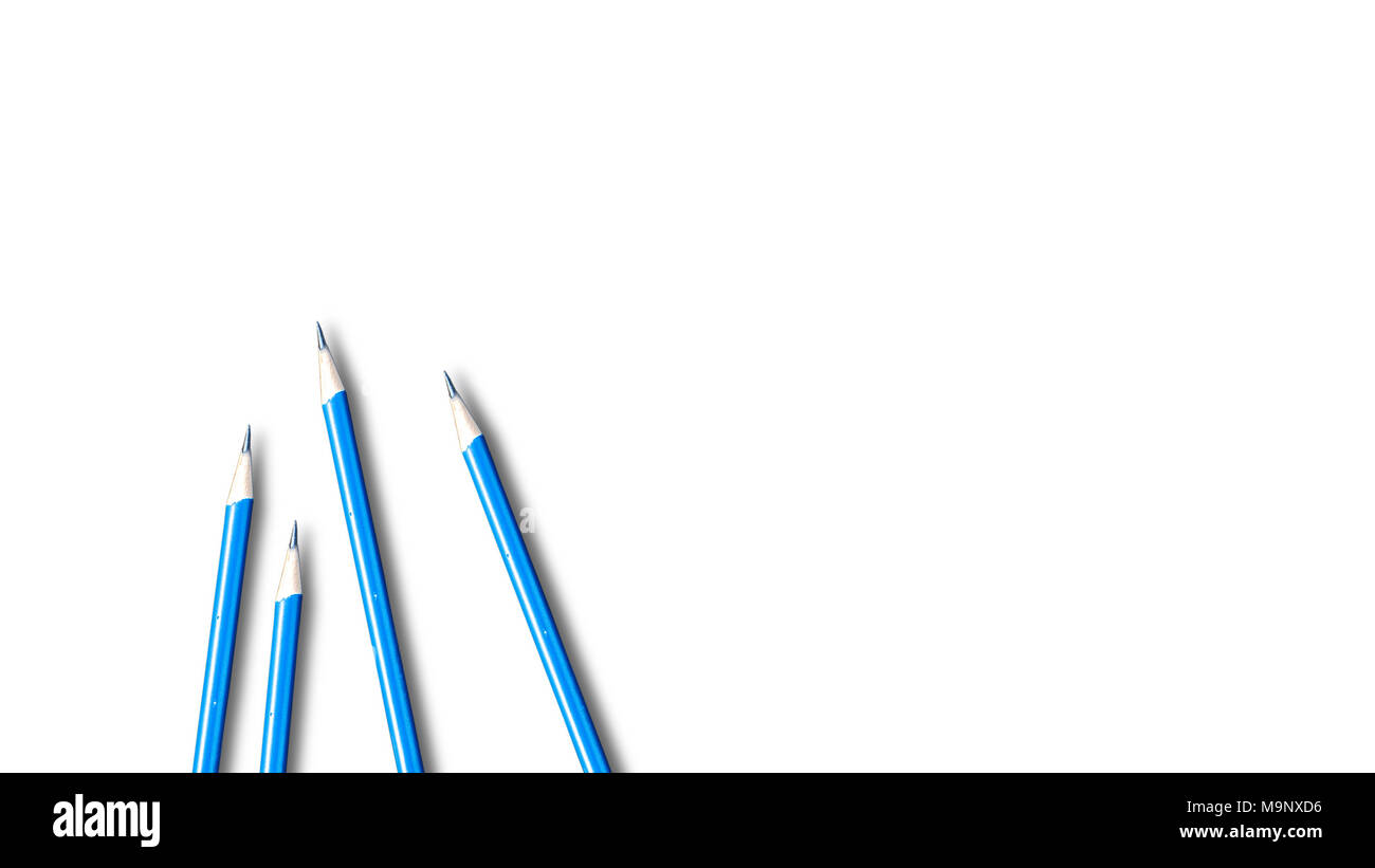 Four pencils isolated on white background with space use for texts or something display - Stock Image