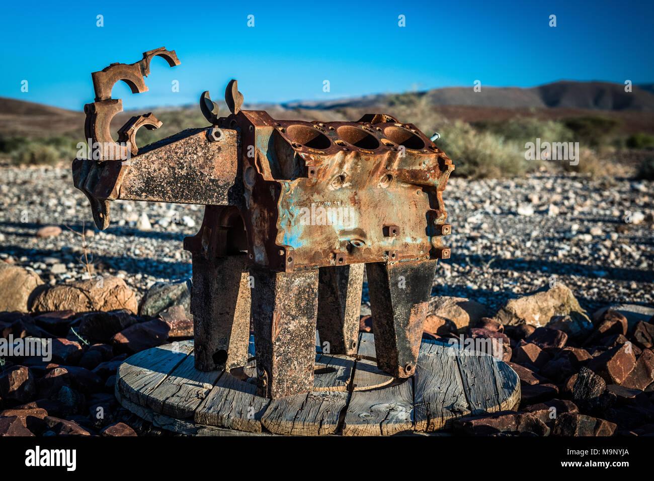 A rhino sculpture at Namibia's Tsauchab river camp Stock Photo