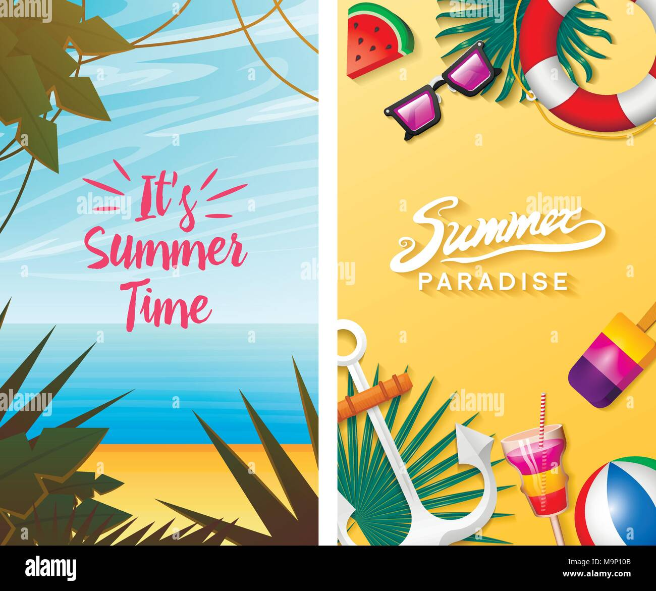 Nautical Summer Cards Marine Vacation On The Beach Tropical Plants