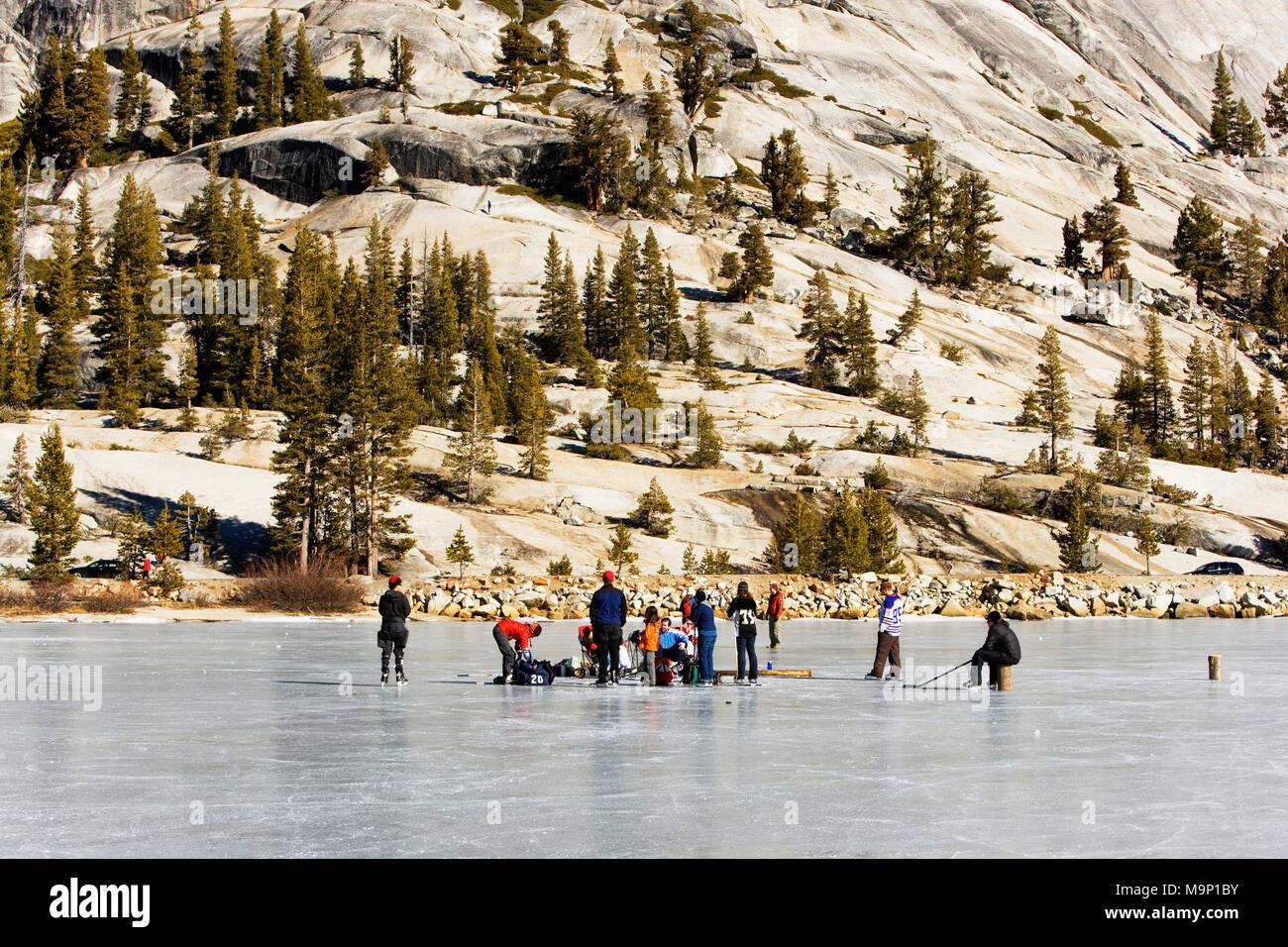 People picnicking on a frozen, snow free Tenaya Lake in Yosemite National Park. - Stock Image