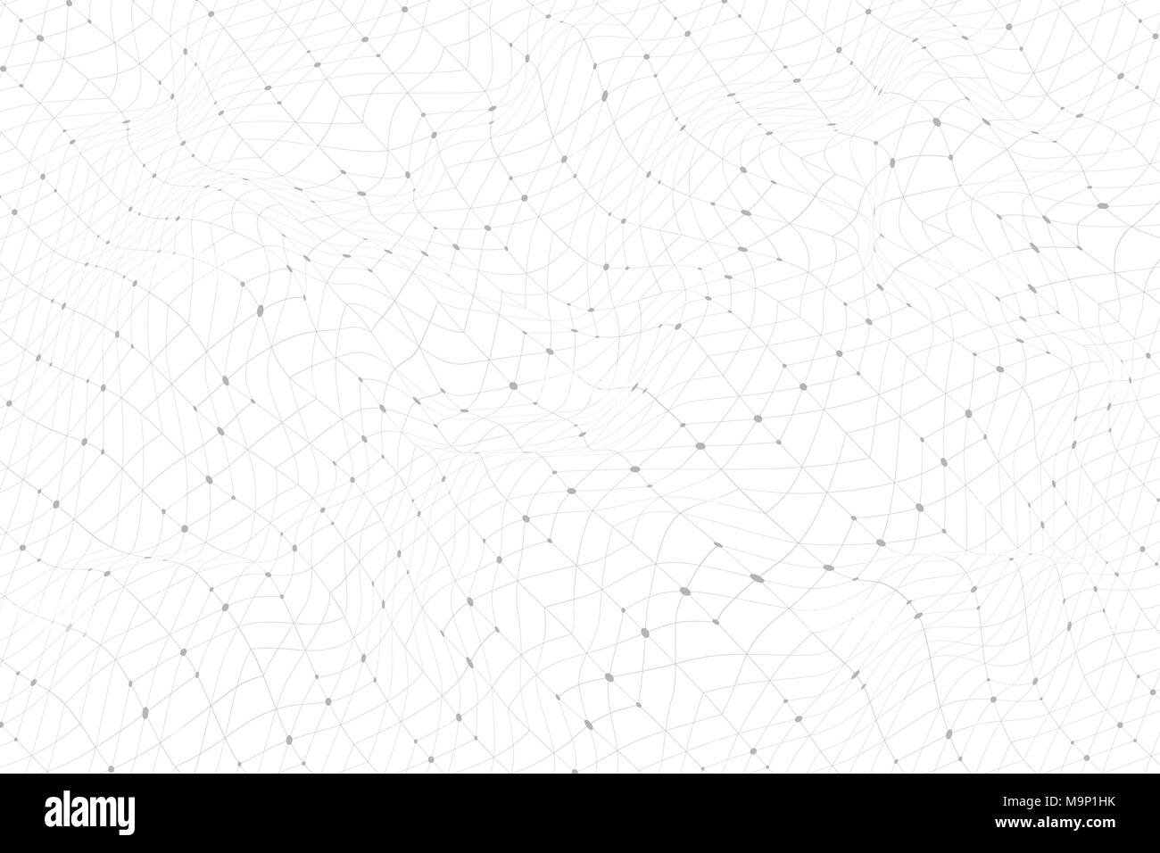 Abstract background with lines and dots distorted on a white background. Monochrome image. Abstract dynamical rippled surface. Vector stripe deformation background. - Stock Image