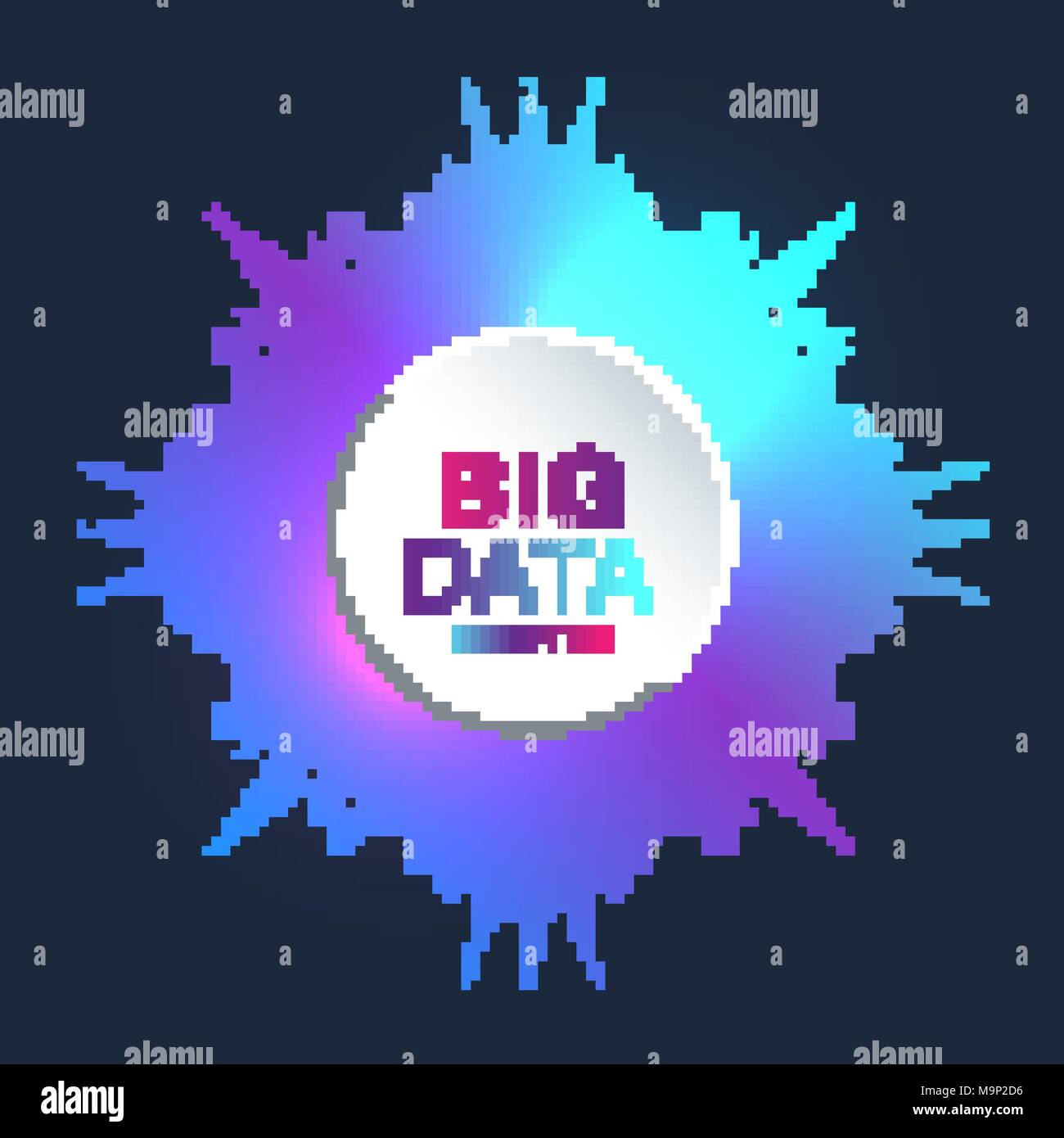 Fractal element with connected line and dots. Virtual background communication or particle compounds. Global network connection. Digital data visualization. Vector illustration. - Stock Image