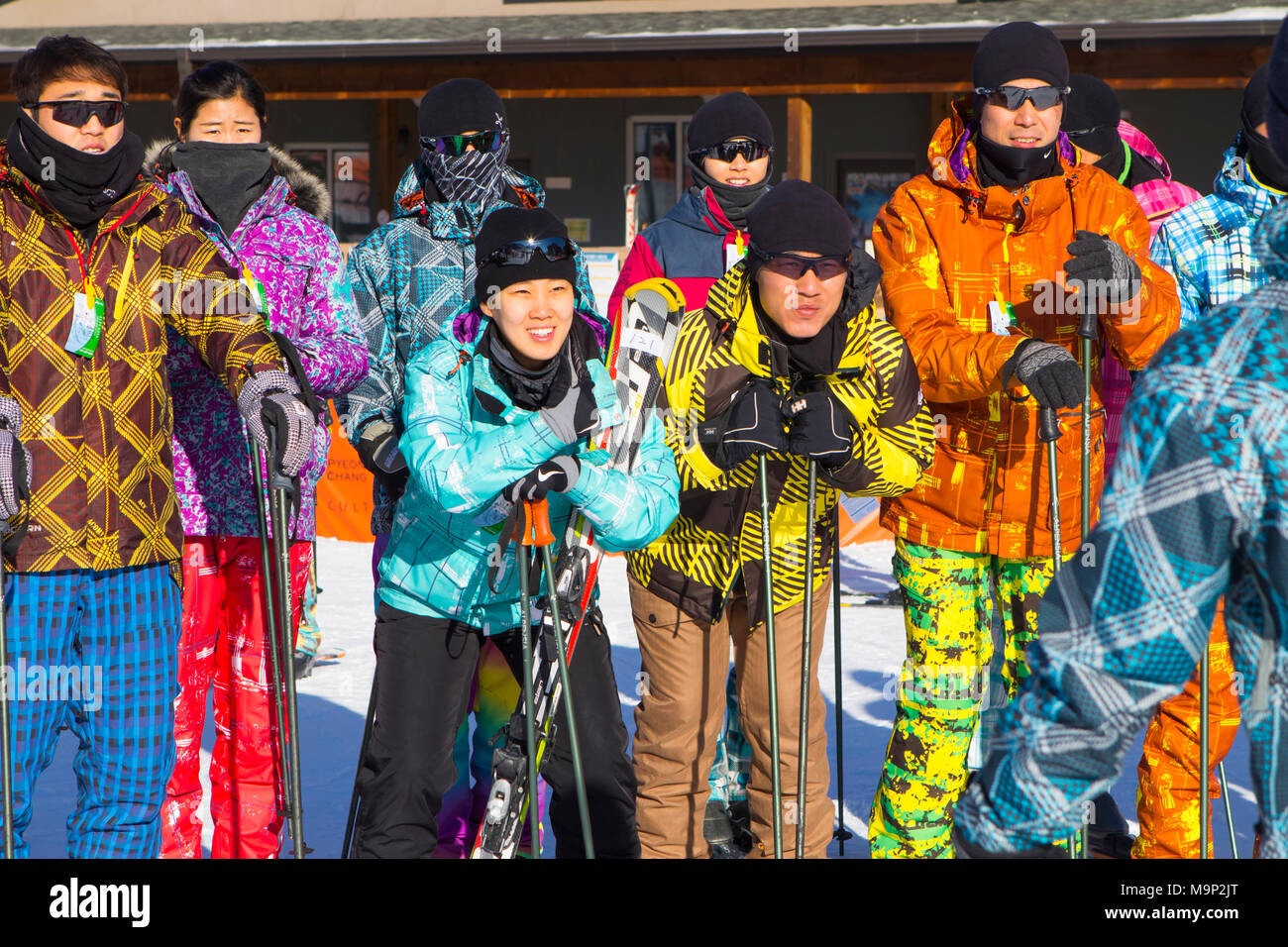 A group of young Koreans at the Alpensia resort in South Korea. Traditionally skiers dress in bright colored ski suits.  The Alpensia Resort is a ski resort and a tourist attraction. It is located on the territory of the township of Daegwallyeong-myeon, in the county of Pyeongchang, hosting the Winter Olympics in February 2018.  The ski resort is approximately 2.5 hours from Seoul or Incheon Airport by car, predominantly all motorway.   Alpensia has six slopes for skiing and snowboarding, with runs up to 1.4 km (0.87 mi) long, for beginners and advanced skiers, and an area reserved for Stock Photo