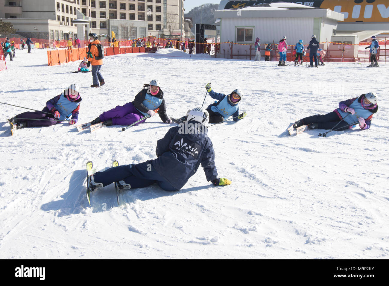 Four women are being taught how to stand up after falling while skiing, in the Alpensia resort in the Gangwon-do region of South Korea.  The Alpensia Resort is a ski resort and a tourist attraction. It is located on the territory of the township of Daegwallyeong-myeon, in the county of Pyeongchang, hosting the Winter Olympics in February 2018.  The ski resort is approximately 2.5 hours from Seoul or Incheon Airport by car, predominantly all motorway.   Alpensia has six slopes for skiing and snowboarding, with runs up to 1.4 km (0.87 mi) long, for beginners and advanced skiers, and an area - Stock Image
