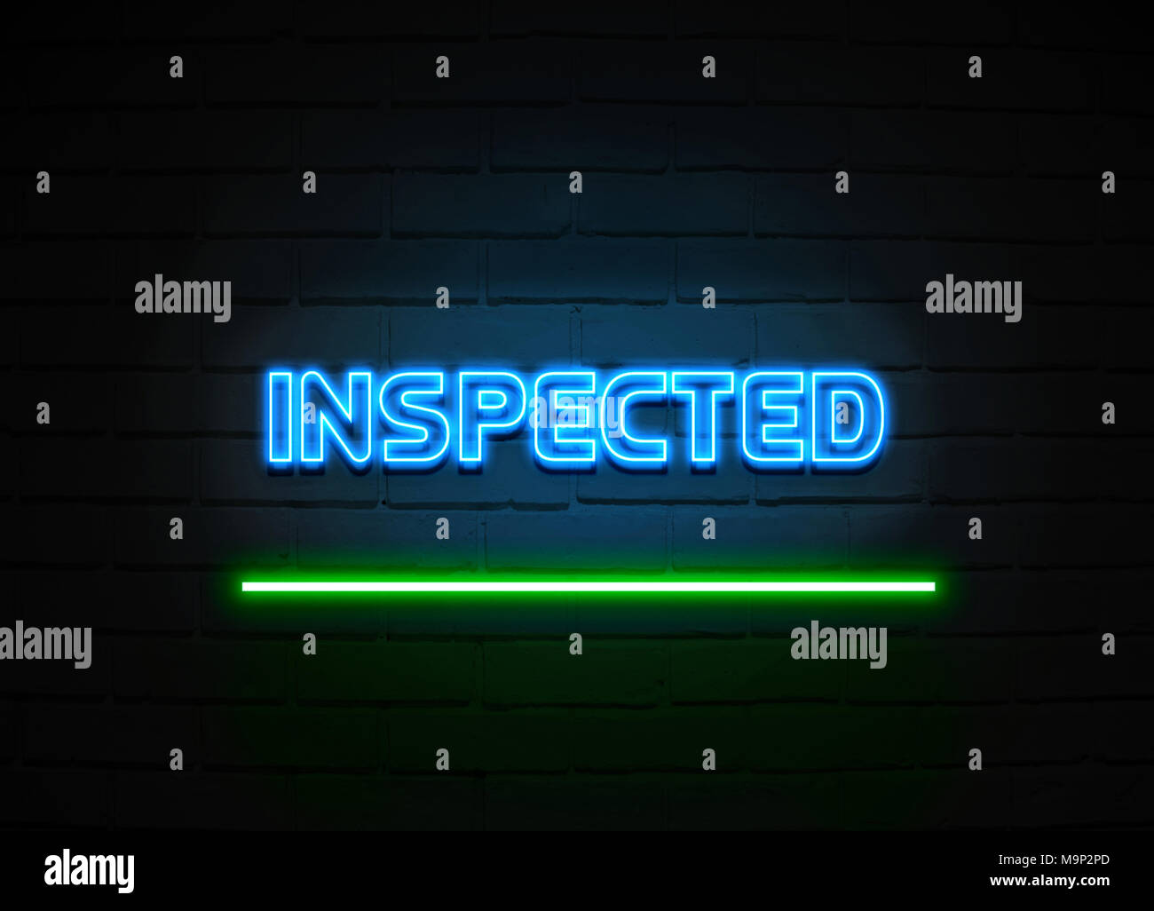 Inspected neon sign - Glowing Neon Sign on brickwall wall - 3D rendered royalty free stock illustration. - Stock Image