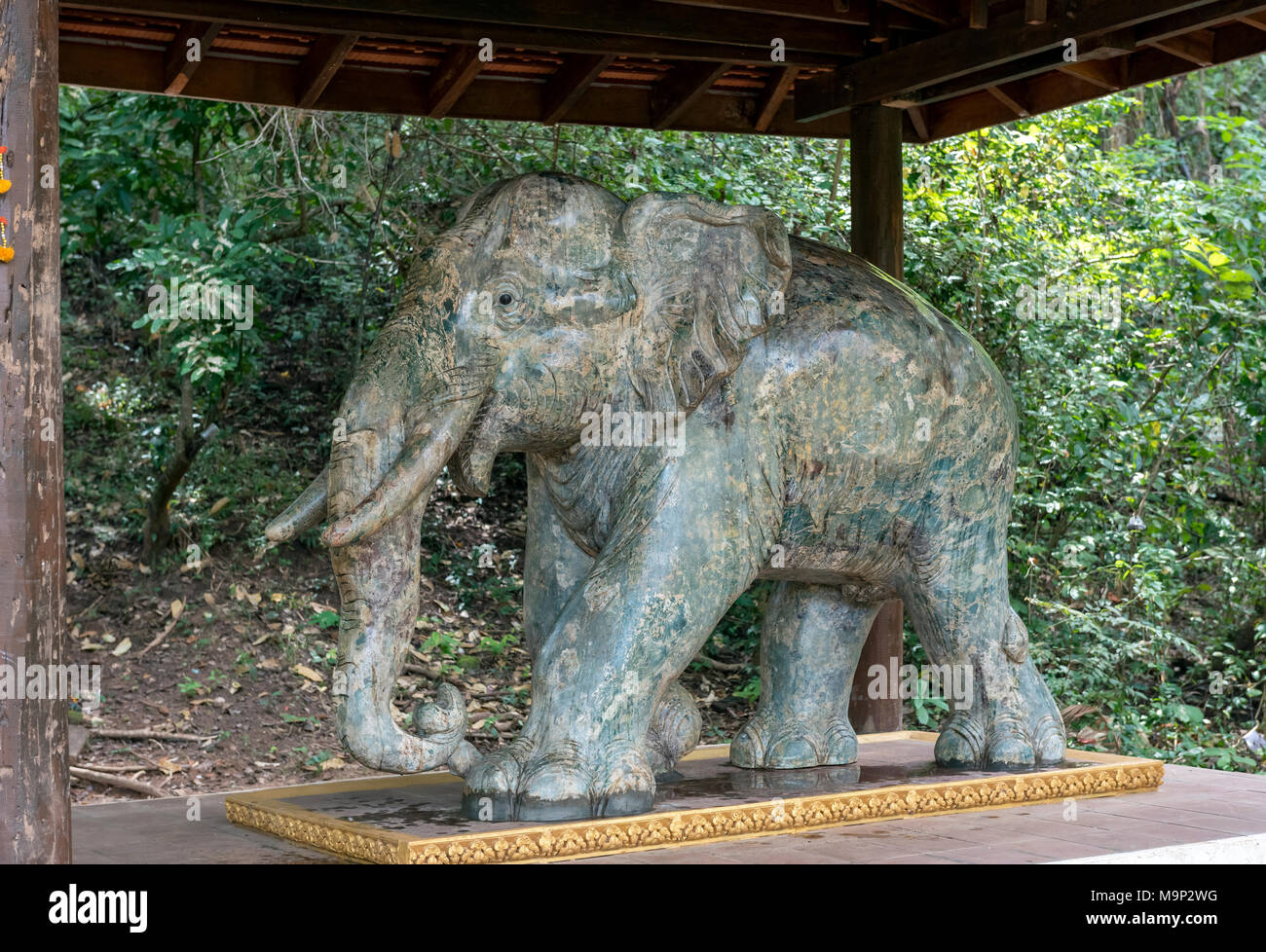 Elephant statue at Koh Ker Temple, Cambodia - Stock Image