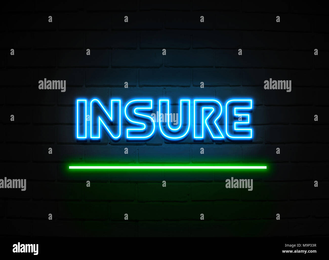Insure neon sign - Glowing Neon Sign on brickwall wall - 3D rendered royalty free stock illustration. - Stock Image