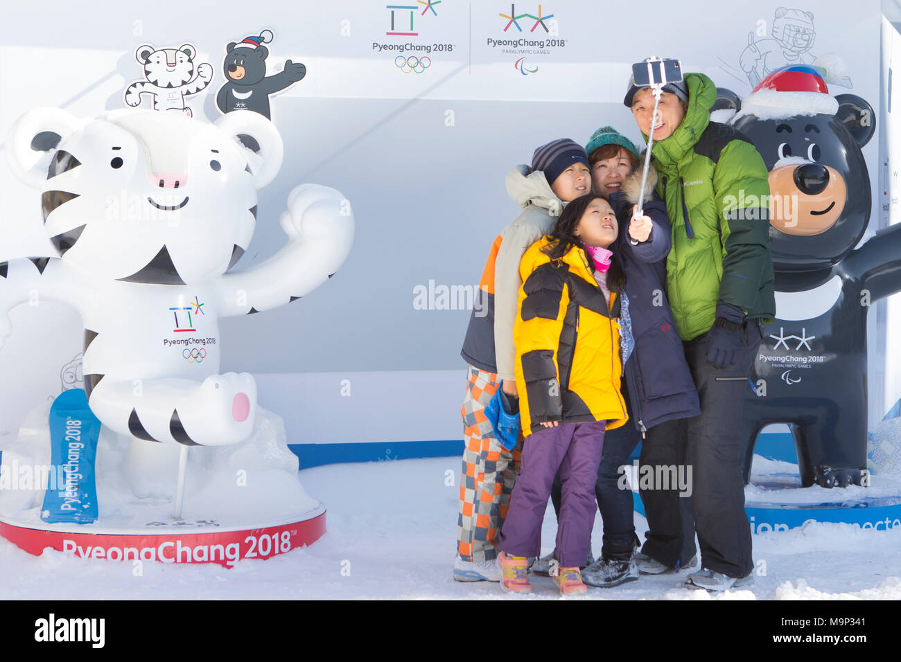 A family is taking a group selfie in Alpensia Resort, with the two mascots (Soohorang and Bandabi) of the 2018 Winter Olympics and Paralympics.  The Alpensia Resort is a ski resort and a tourist attraction. It is located on the territory of the township of Daegwallyeong-myeon, in the county of Pyeongchang, hosting the Winter Olympics in February 2018.  The ski resort is approximately 2.5 hours from Seoul or Incheon Airport by car, predominantly all motorway.   Alpensia has six slopes for skiing and snowboarding, with runs up to 1.4 km (0.87 mi) long, for beginners and advanced skiers, and an - Stock Image
