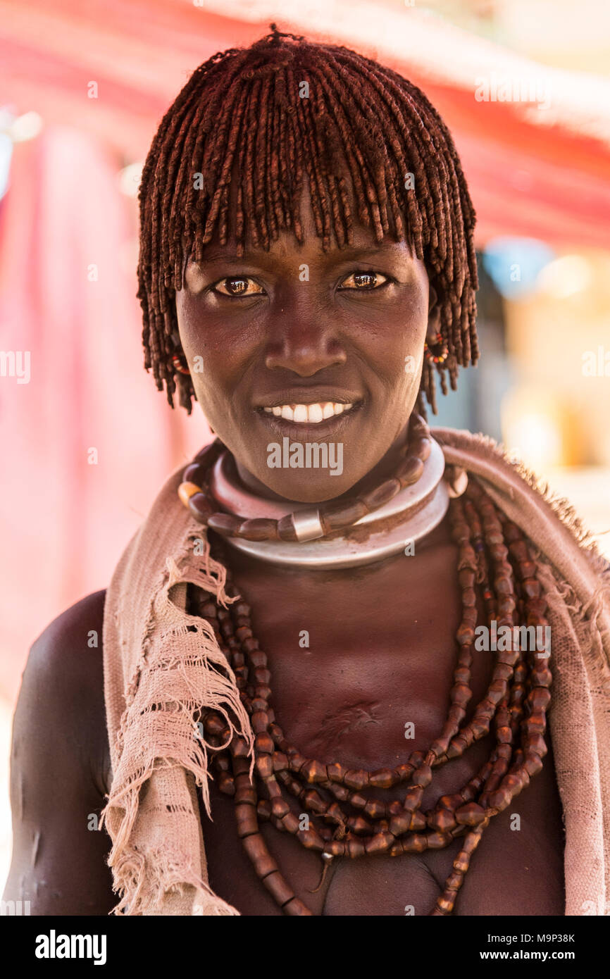 Woman of the Hamer tribe with necklace, portrait, Turmi, region of southern nations, nationalities and peoples, Ethiopia - Stock Image