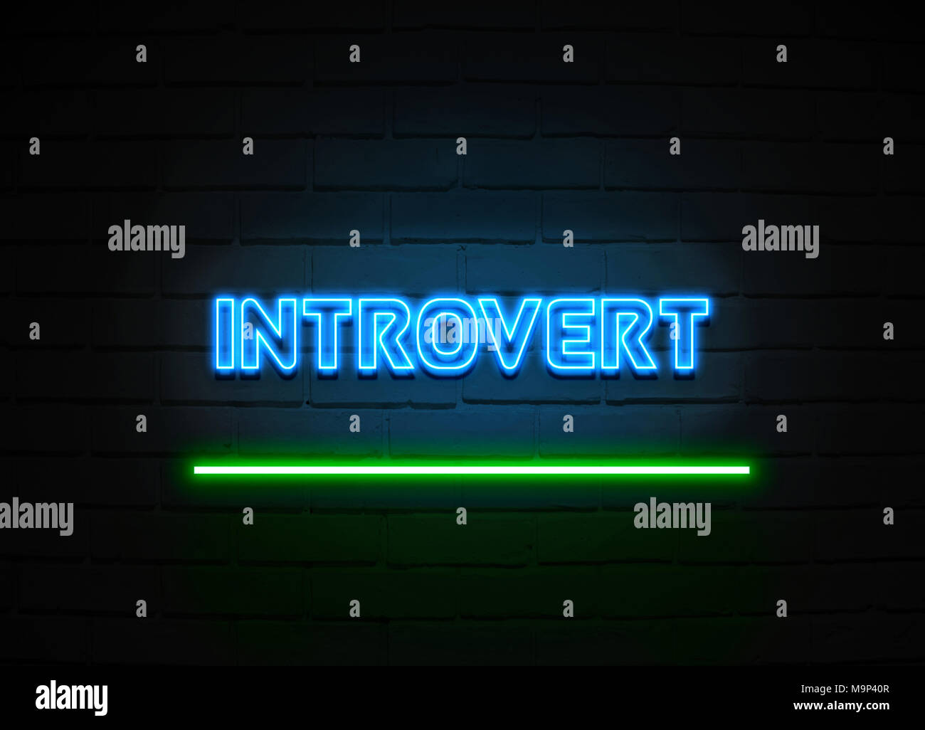 Introvert neon sign - Glowing Neon Sign on brickwall wall - 3D rendered royalty free stock illustration. - Stock Image