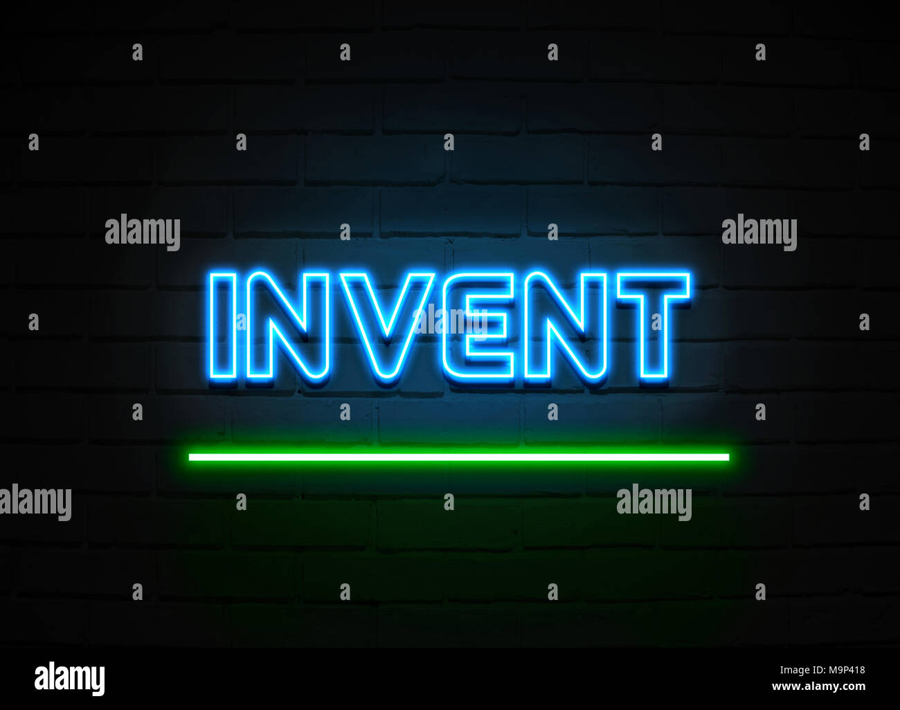 Invent neon sign - Glowing Neon Sign on brickwall wall - 3D rendered royalty free stock illustration. - Stock Image