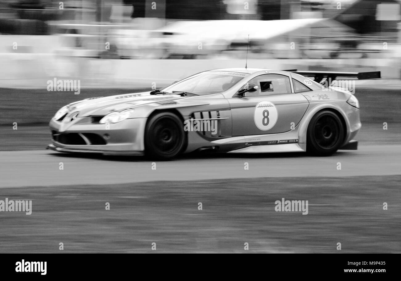 Mercedes-Benz SLR McLaren 722 GT racing at Goodwood Festival of Speed. - Stock Image
