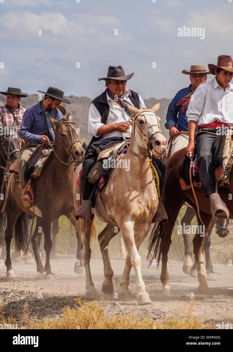 Cabalgata de Los Gauchos, Gaucho horse parade from San Juan to Vallecito, San Juan Province, Argentina - Stock Image