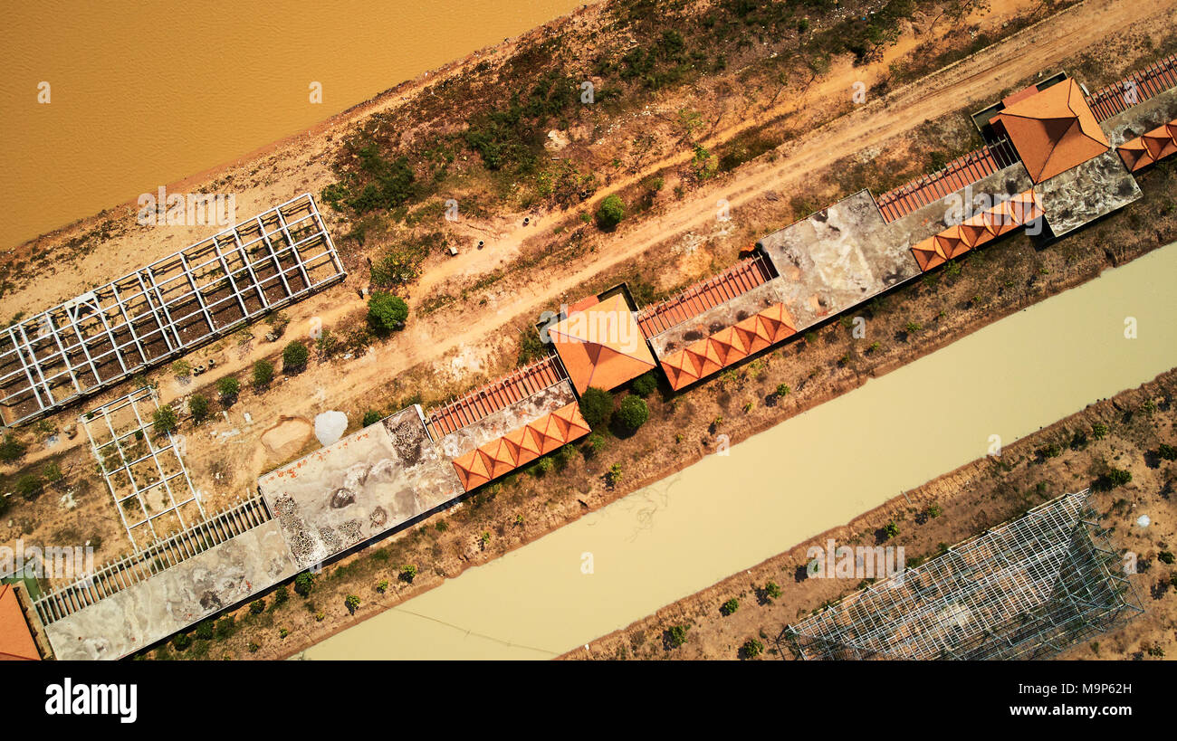Drone Aerial view of industril park near tonle-sap lake in Siem-Reap, Cambodia, march 2018 - Stock Image