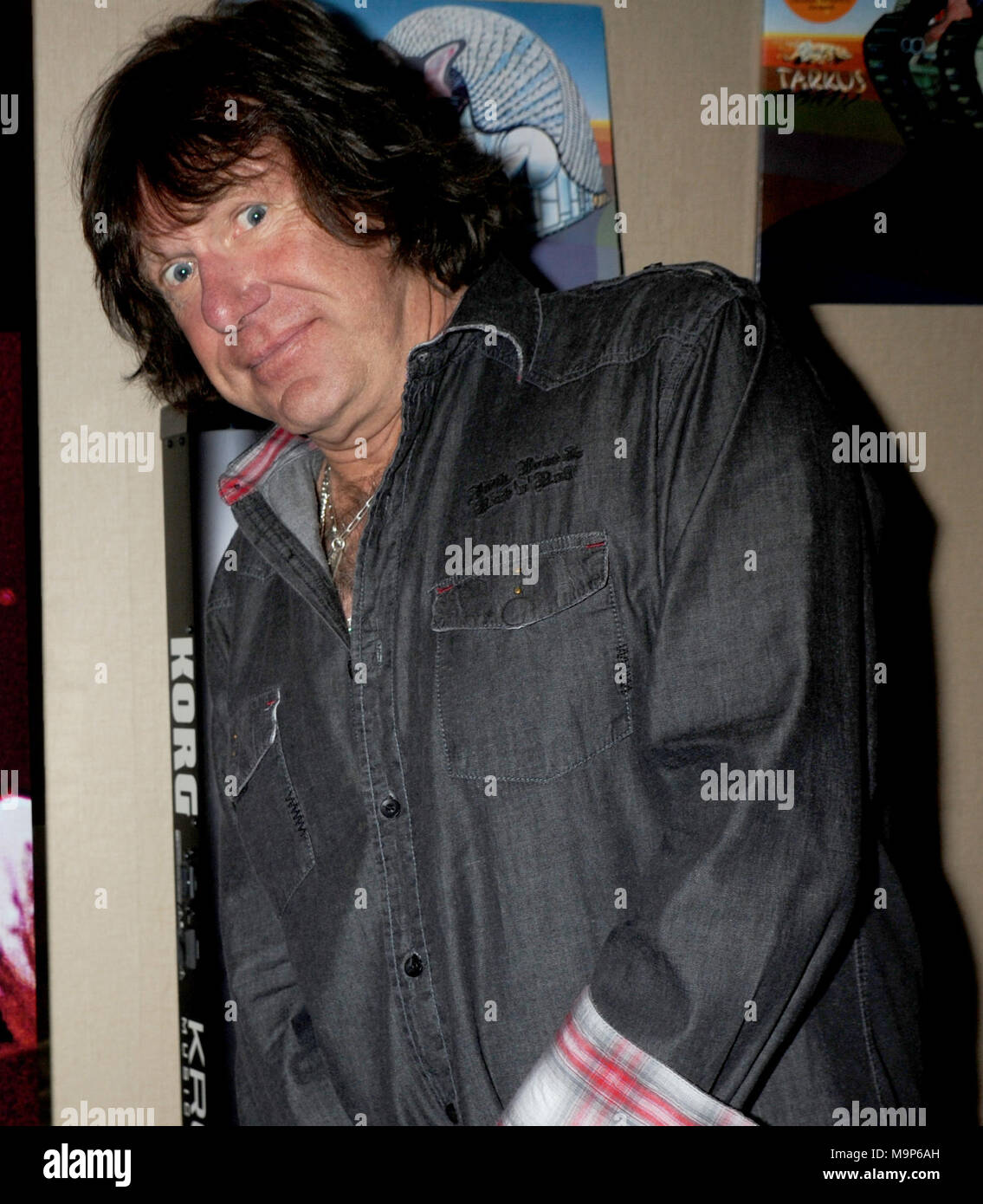 NEW YORK, NY - 2012: Keith Emerson, the flamboyant, English prog-rock pioneer who rose to fame as the keyboardist for supergroup Emerson, Lake & Palmer in the '70s, died in Santa Monica, Calif. on Thursday at age 71.Orig Pix taken on 2012 in New York City  People:  Keith Emerson - Stock Image