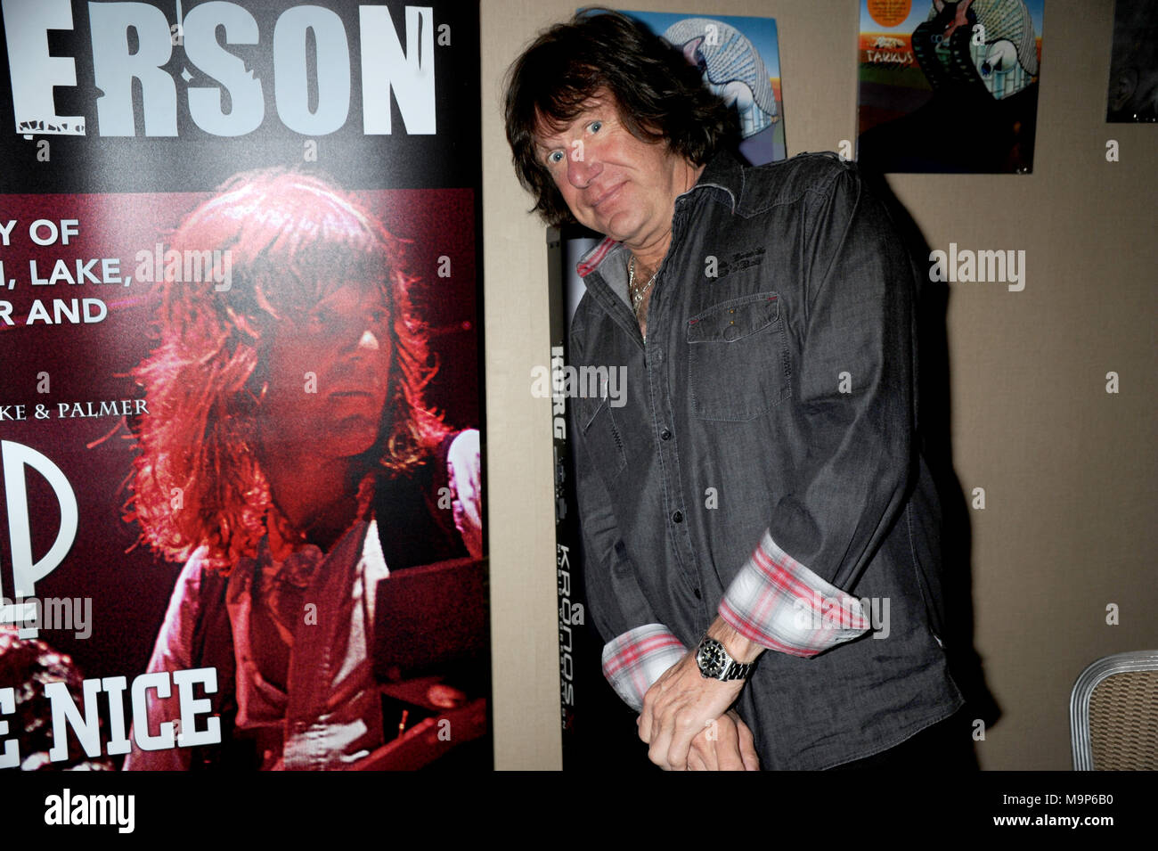 NEW YORK, NY - 2012: Keith Emerson, the flamboyant, English prog-rock pioneer who rose to fame as the keyboardist for supergroup Emerson, Lake & Palmer in the Õ70s, died in Santa Monica, Calif. on Thursday at age 71.Orig Pix taken on 2012 in New York City  People:  Keith Emerson Stock Photo
