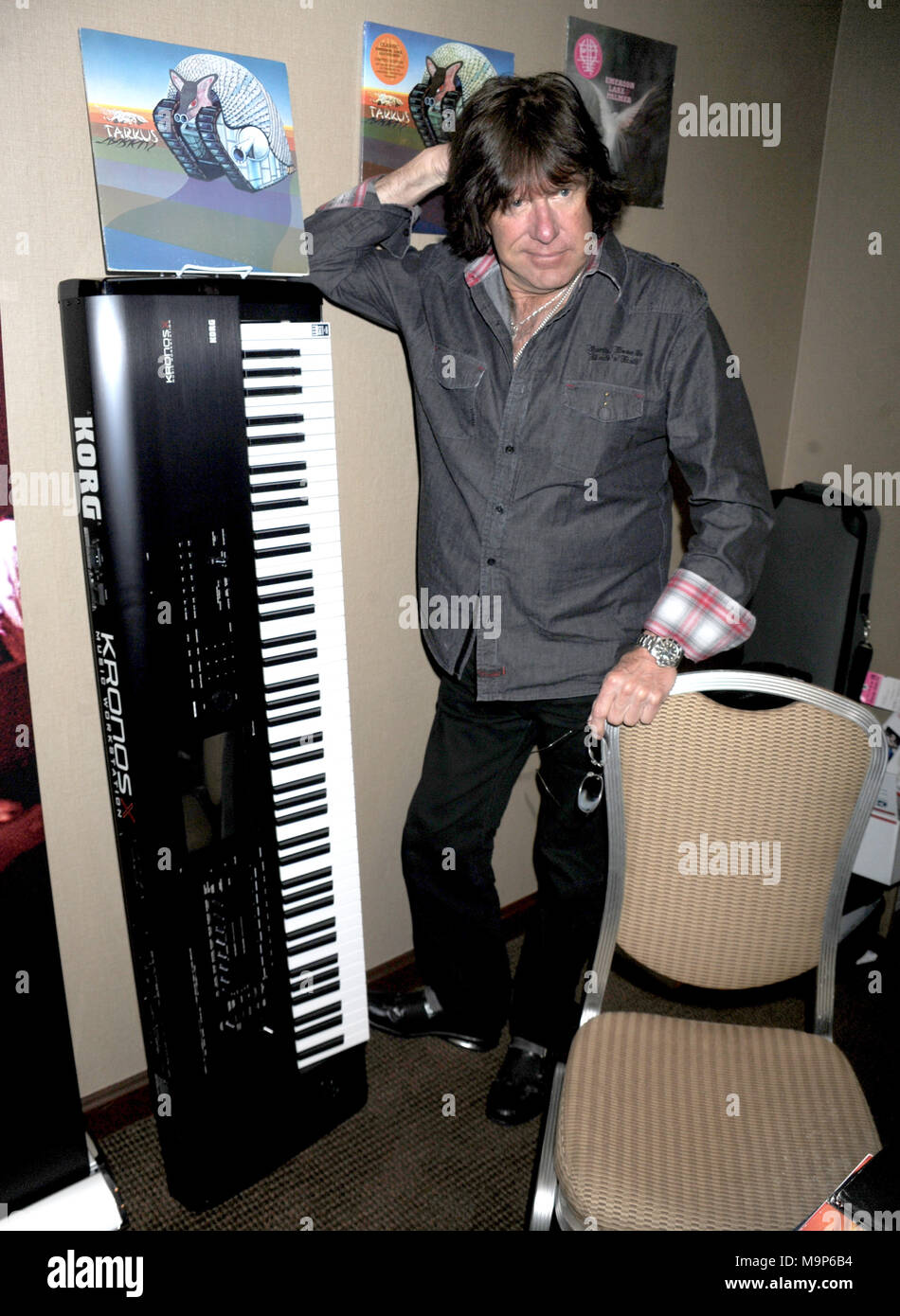 NEW YORK, NY - 2012: Keith Emerson, the flamboyant, English prog-rock pioneer who rose to fame as the keyboardist for supergroup Emerson, Lake & Palmer in the Õ70s, died in Santa Monica, Calif. on Thursday at age 71.Orig Pix taken on 2012 in New York City  People:  Keith Emerson - Stock Image