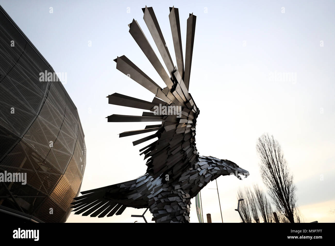 A general view of the Ferencvaros eagle sculpture outside the ...