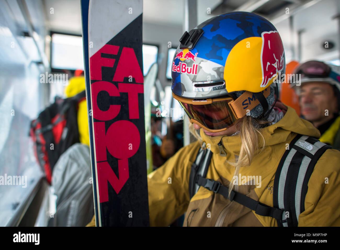 Professional skier wearing skiwear, Monterosa Ski mountain resort in Gressoney, Aosta, Italy - Stock Image